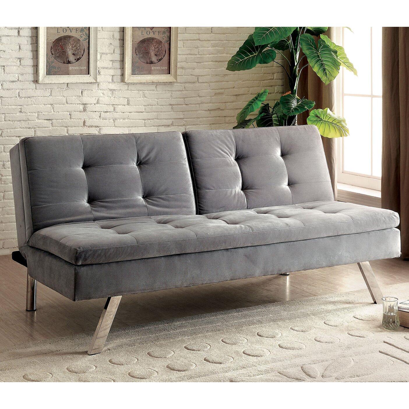 A Amp J Homes Studio Riverside Tufted Flannelette Sleeper Sofa