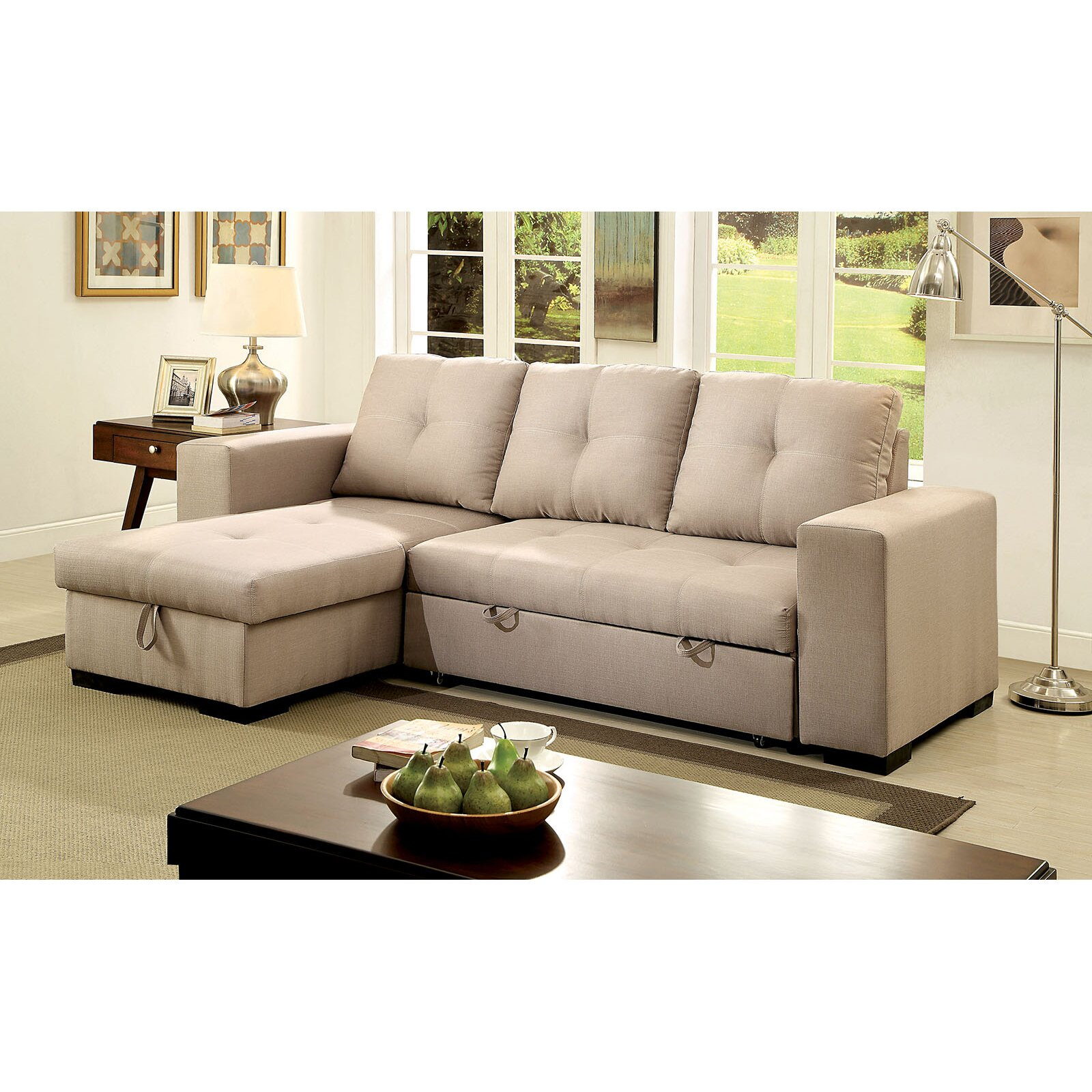 Small Sectional Sofa Clearance: A&J Homes Studio Reversible Chaise Sleeper Sectional
