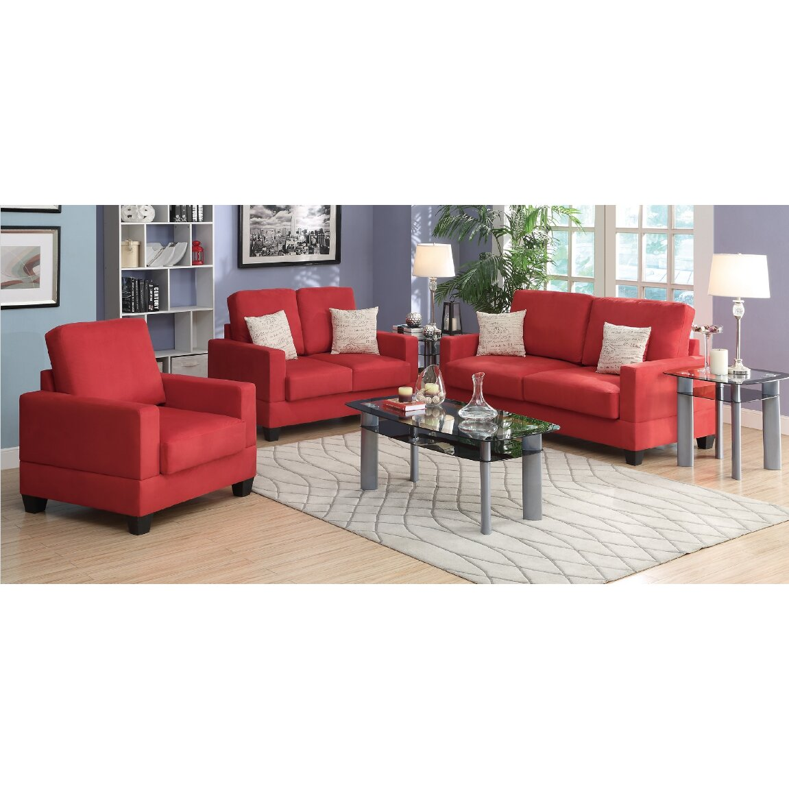 A j homes studio pandora 3 piece living room set wayfair for Living room 3 piece sets