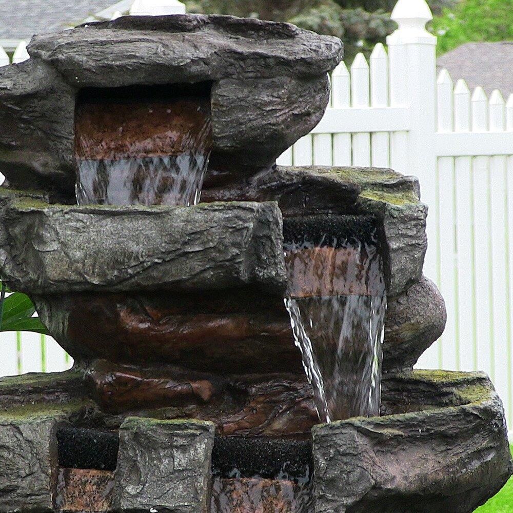 Sunnydaze decor polyresin and fibreglass outdoor electric for Waterfall decor