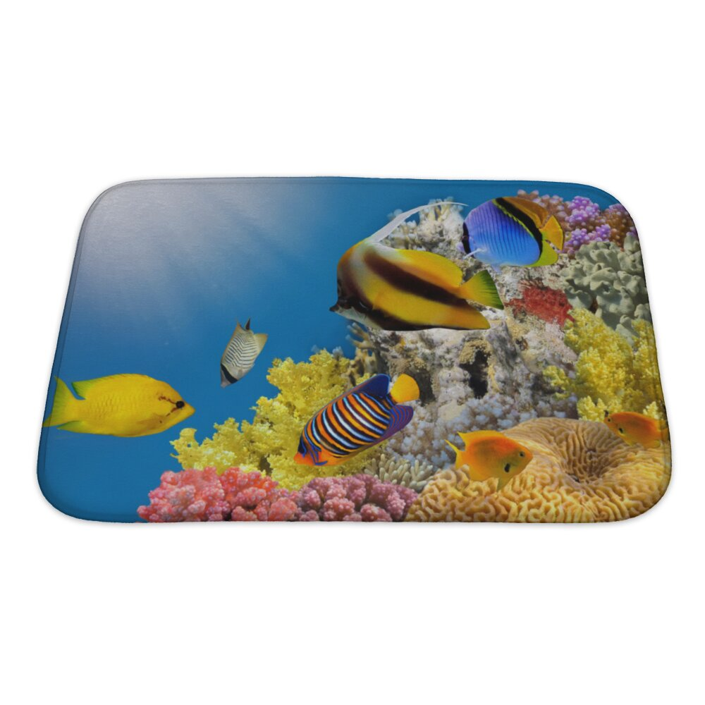 Gear new fish coral colony on a reef top sea egypt bath for Fish bath mat