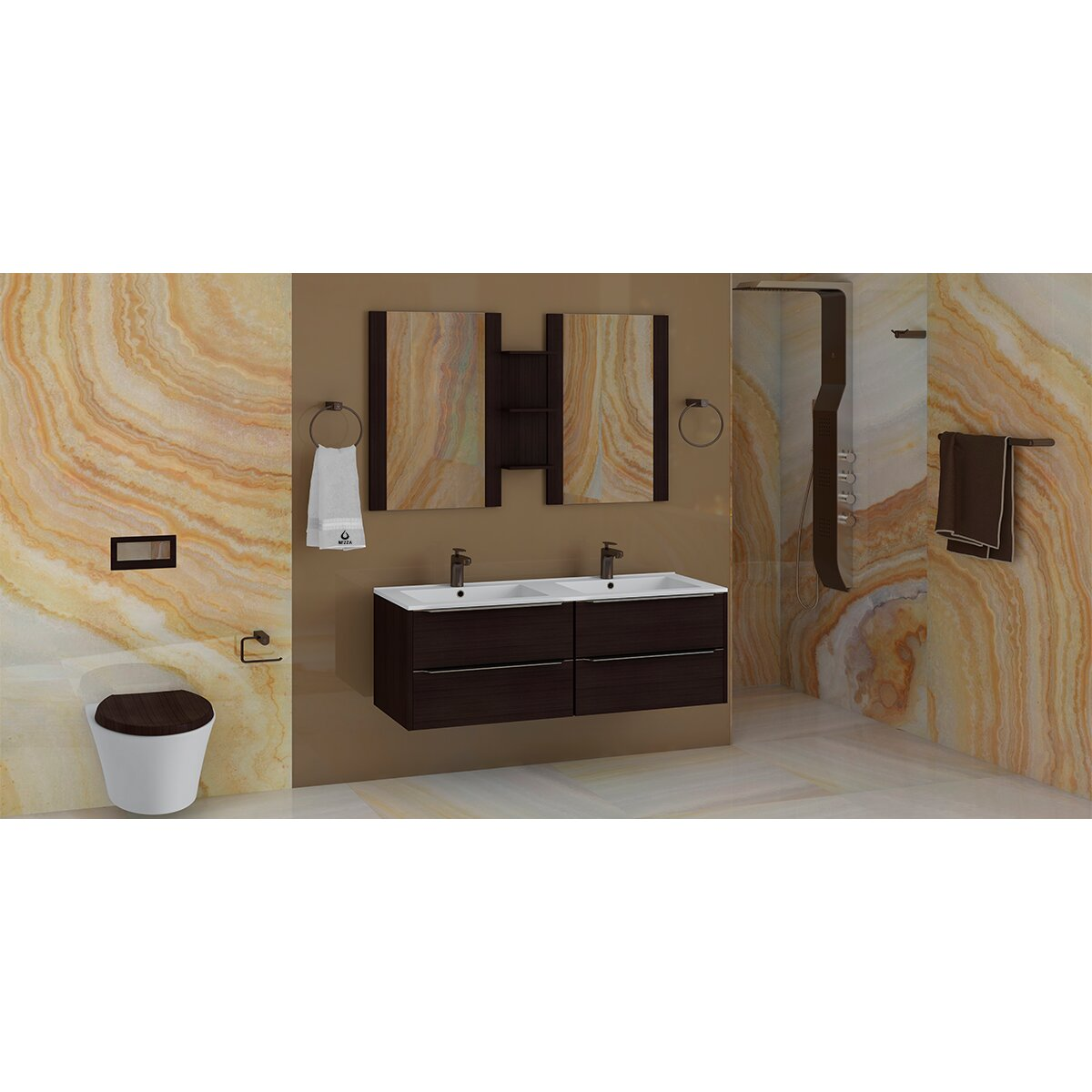 Elegant Modern Bathroom Hardware Set Bath Accessories Towel Bar Ring Toilet