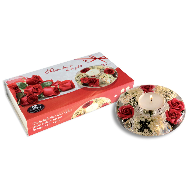 dreamlight teelichthalter pretty rose aus glas. Black Bedroom Furniture Sets. Home Design Ideas