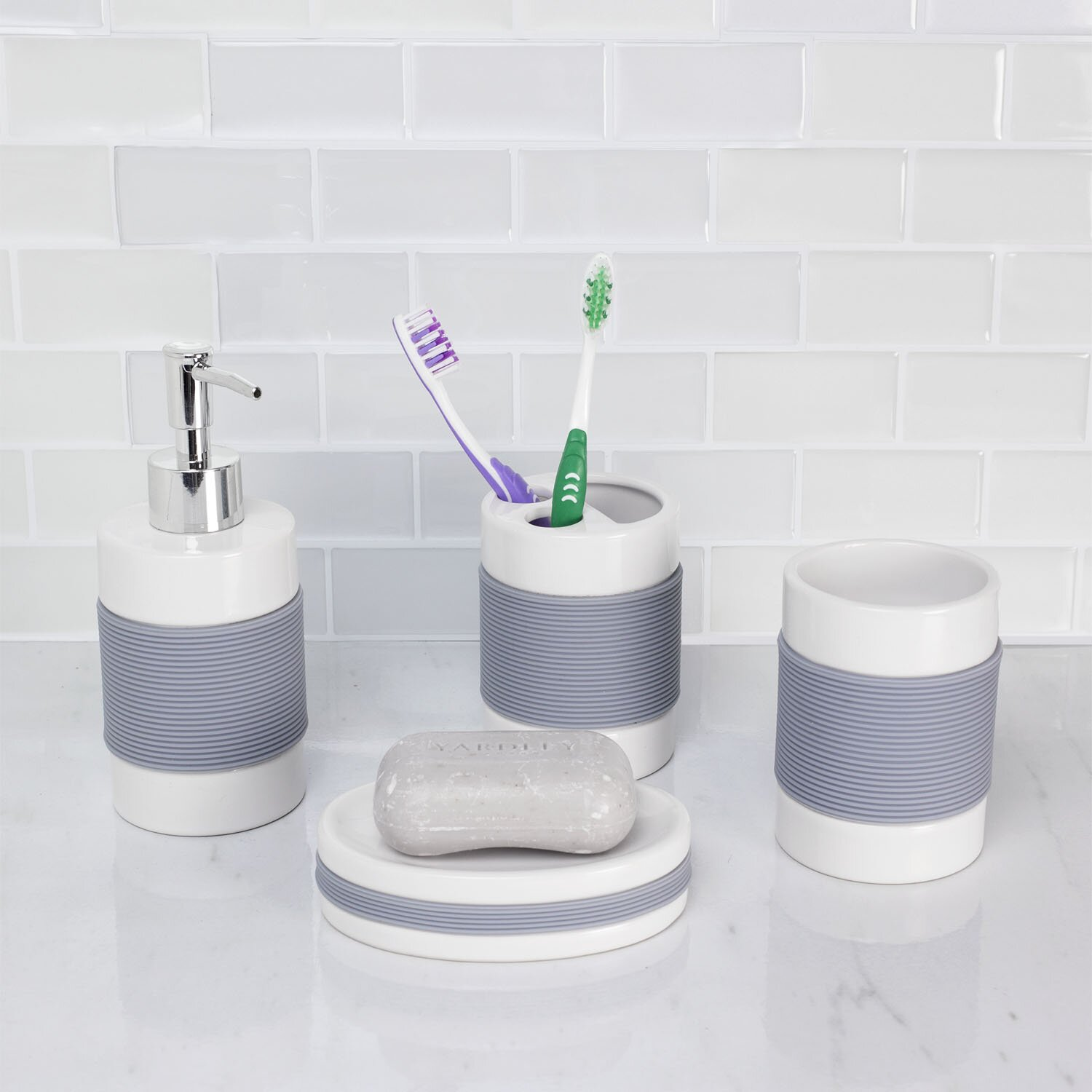 The twillery co hardy 4 piece bathroom accessory set for Gen y bathroom accessories