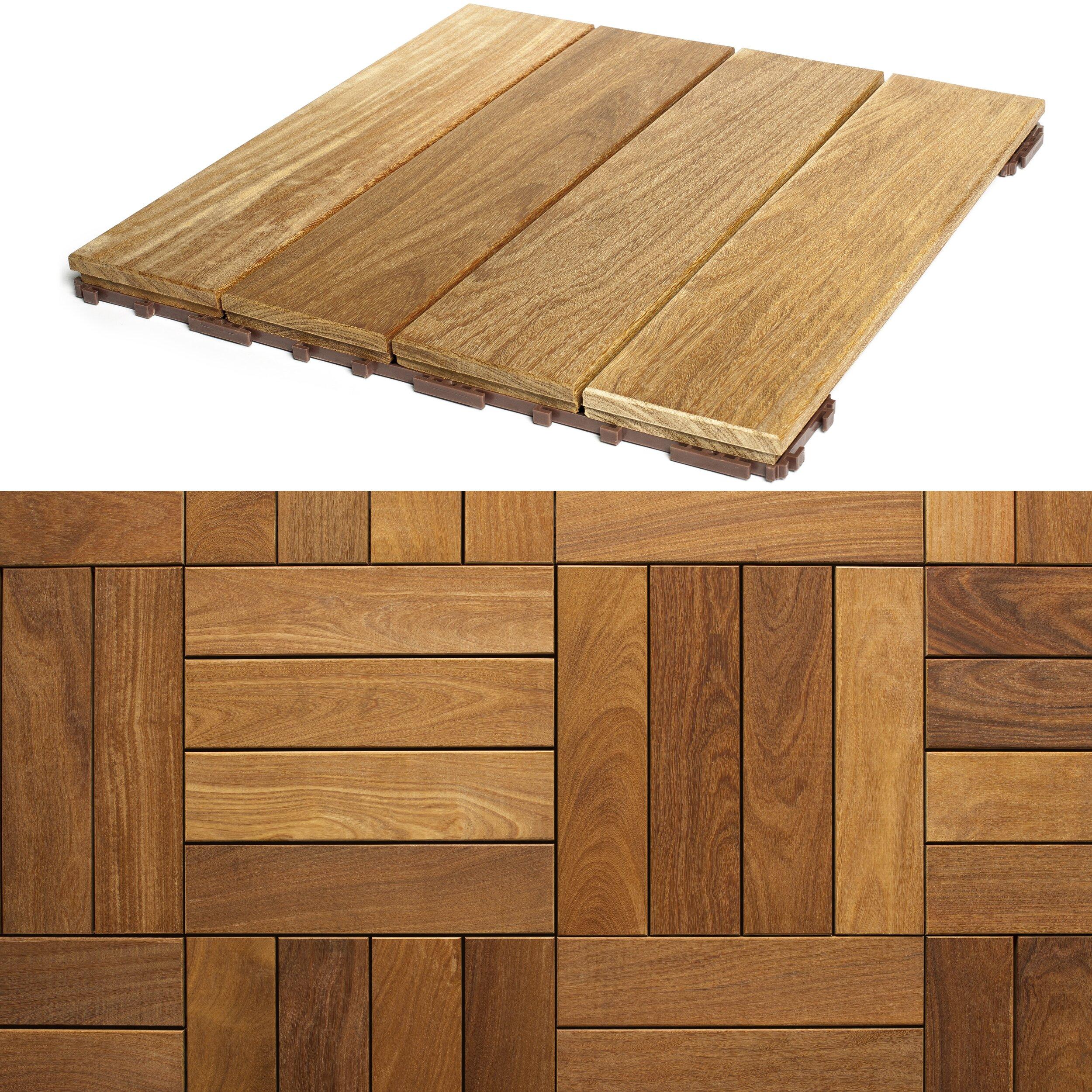 Flexdeck hardwood 18 x 18 snap in deck tiles in natural for 18 inch tiles floor