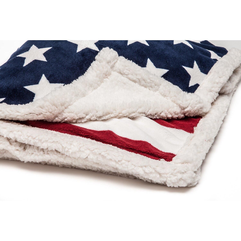 Chanasya us flag print super soft sherpa throw blanket for Sherpa blanket
