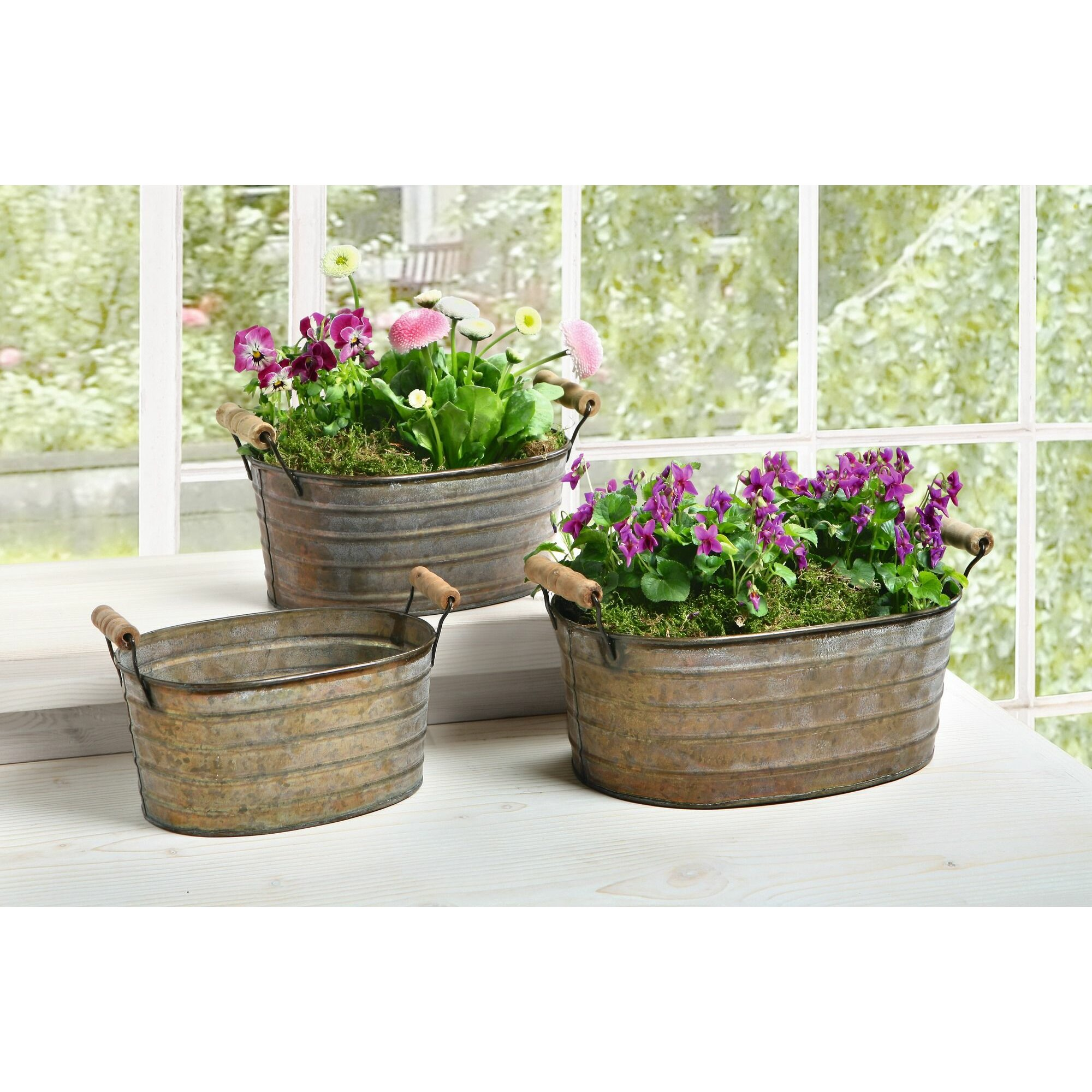 Piersurplus 3 piece oval tub planter set reviews for Oval garden tub