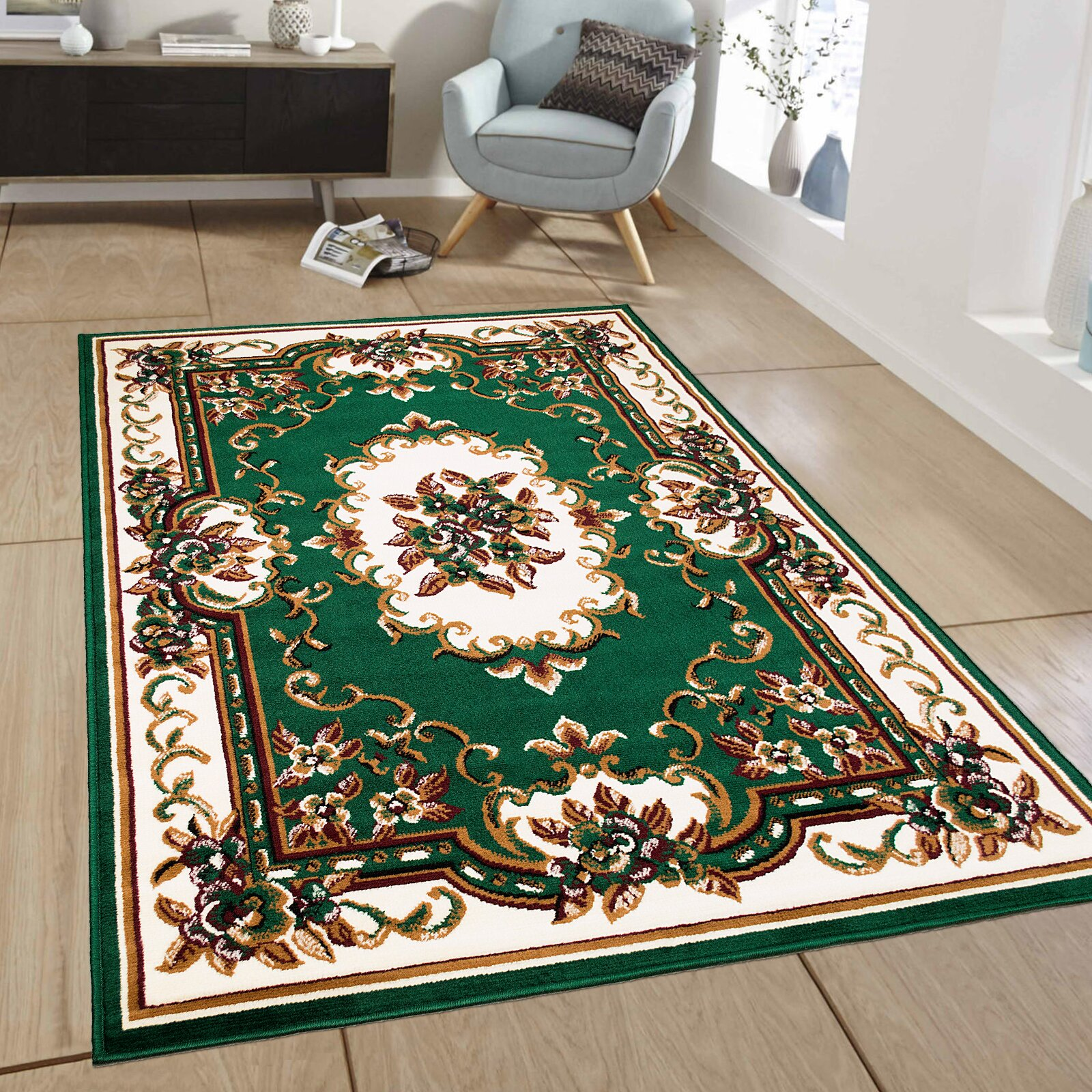 AllStar Rugs Green Area Rug & Reviews