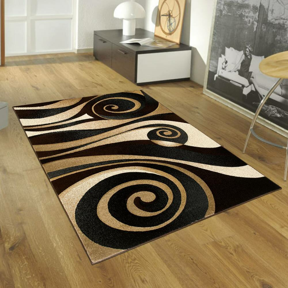 allstar rugs floral spiral black brown area rug reviews. Black Bedroom Furniture Sets. Home Design Ideas