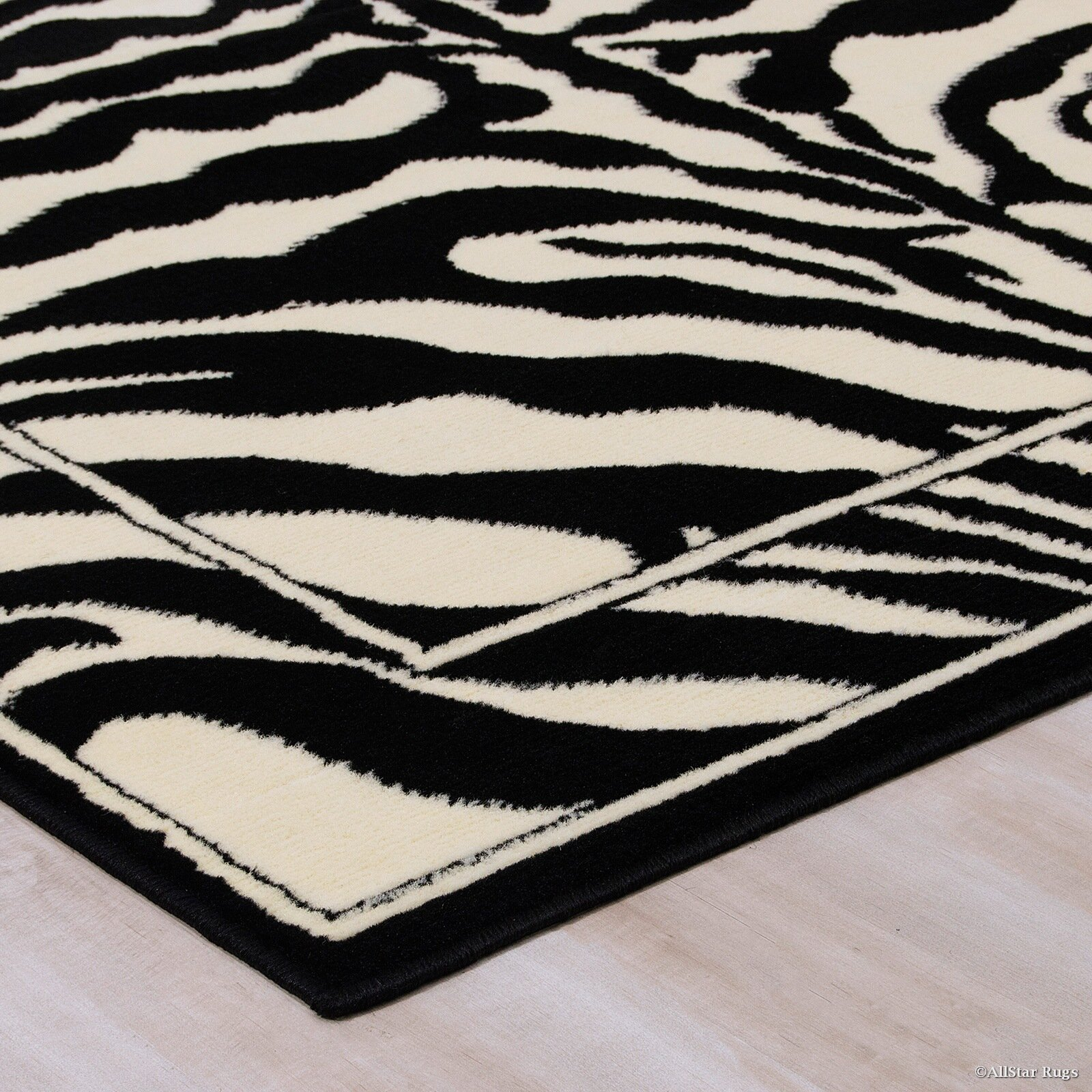 Allstar rugs hand tufted white black area rug reviews - Black and white rug ...