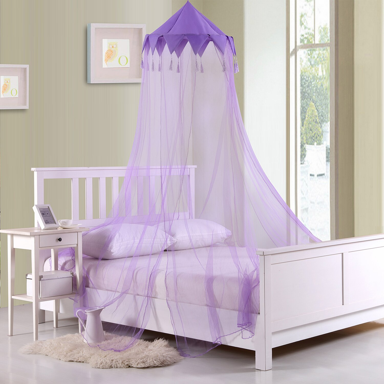 Casablanca kids harlequin kids collapsible hoop sheer bed for Rectangle bed canopy