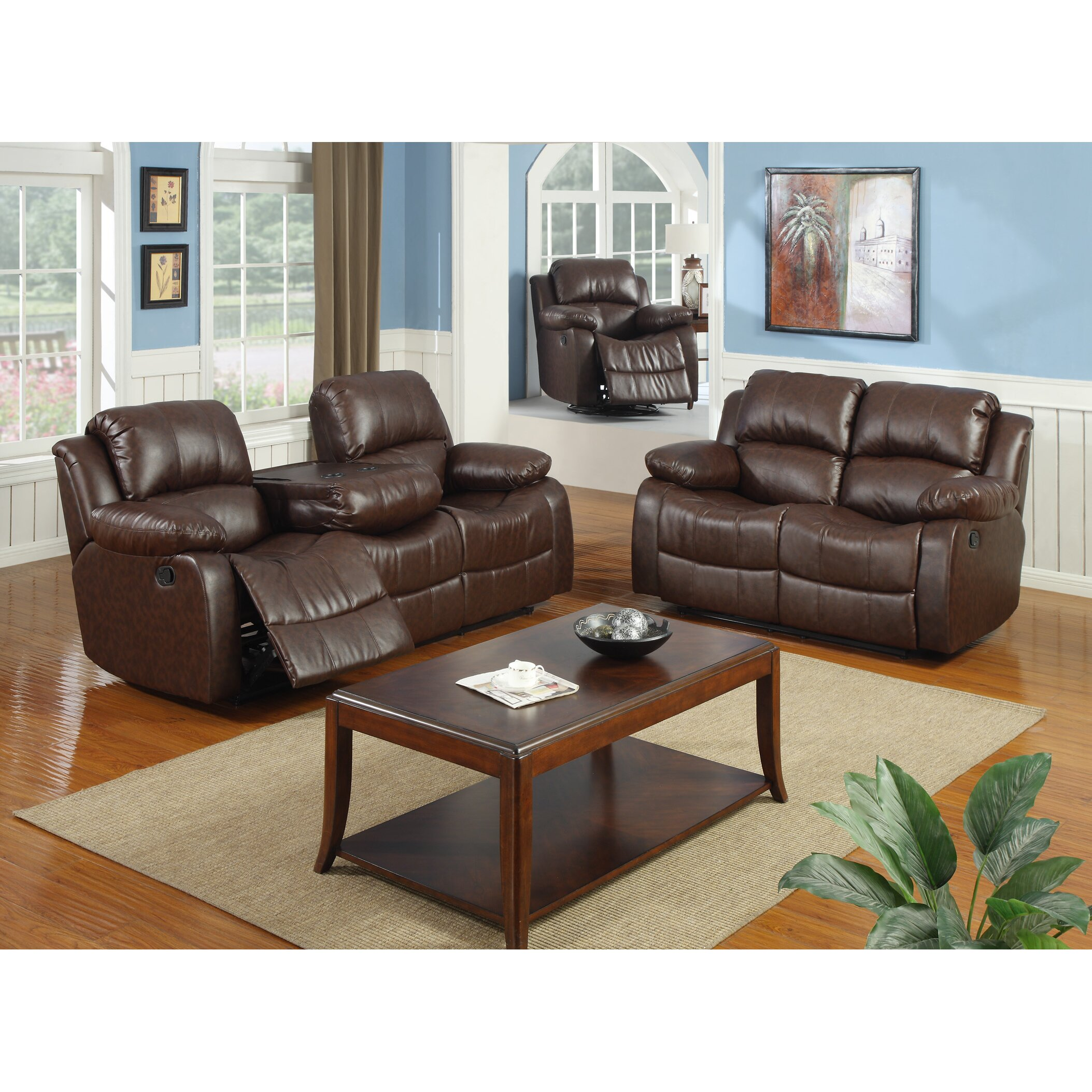 Best quality furniture bonded leather 3 piece recliner for Leather living room sets