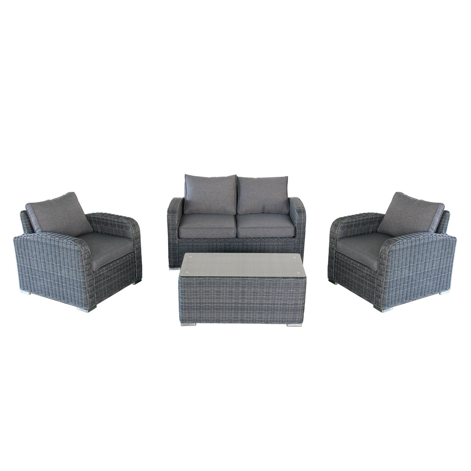 Magari outdoor furniture complete 4 piece deep seating for Outdoor furniture 4 piece