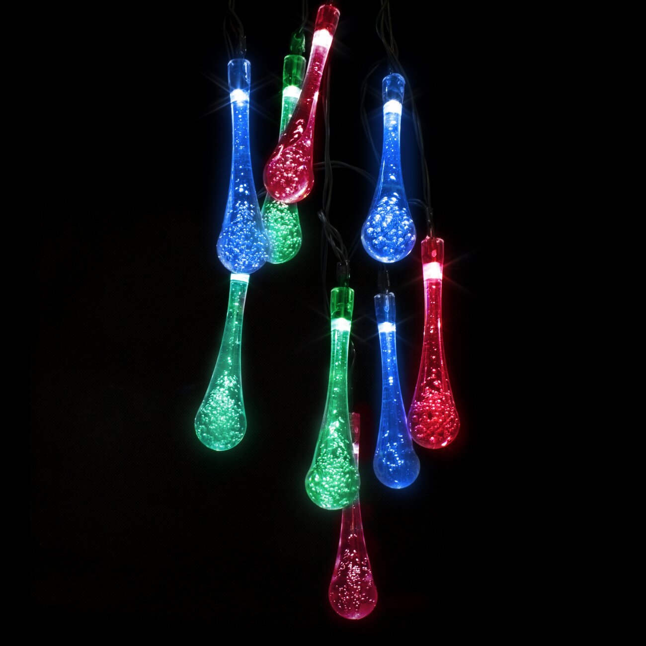 String Christmas Lights From Top Or Bottom : LED Concepts Solar LED Water Drop String Christmas Light & Reviews Wayfair
