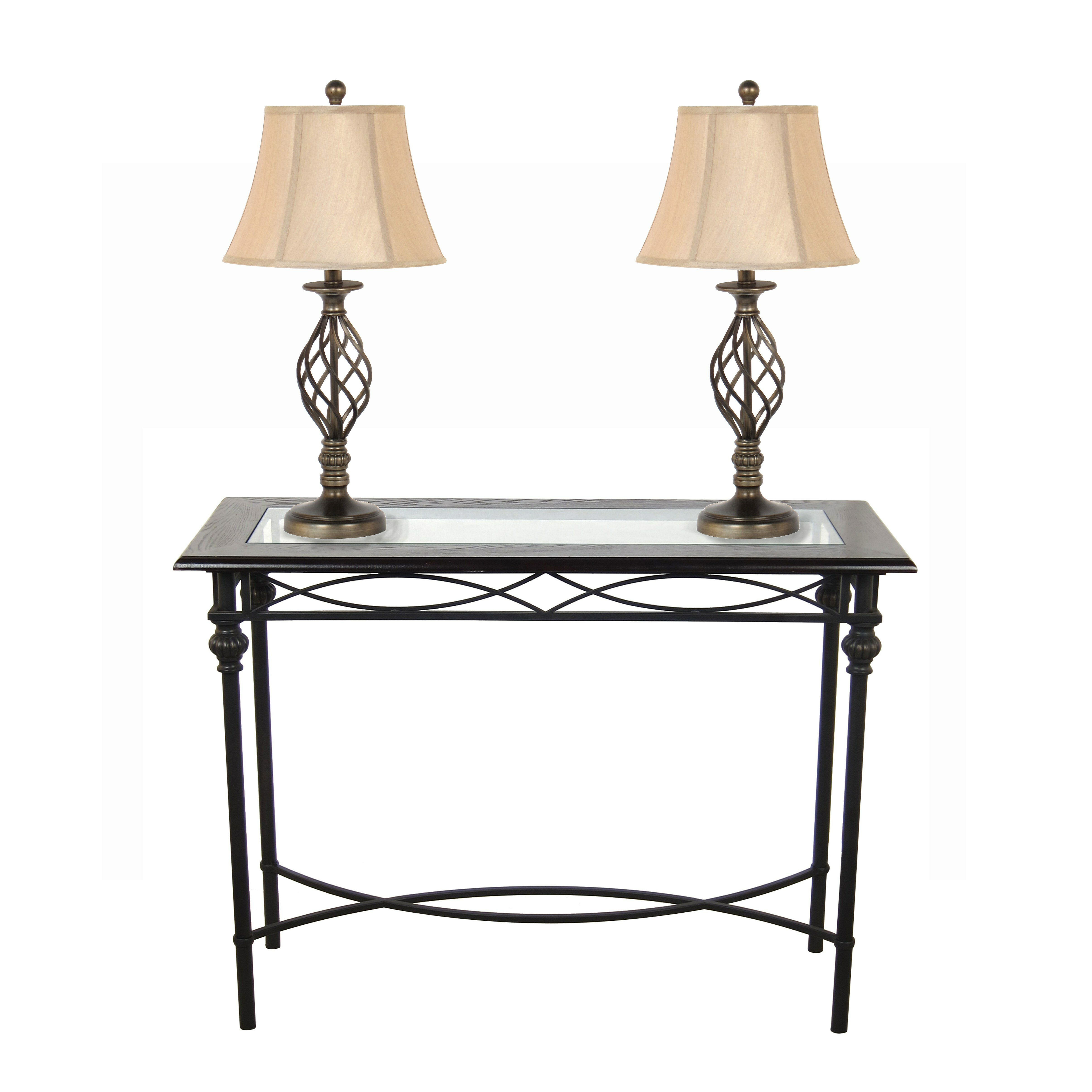 Homestyle collection console table with lamp set reviews for Sofa table lighting