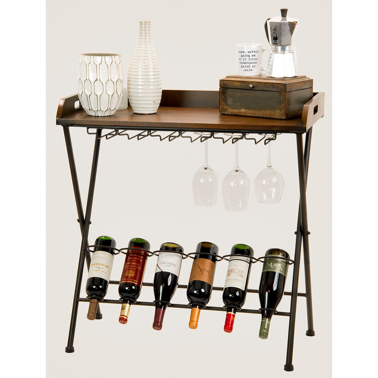 Homestyle collection 6 bottle floor wine rack wayfair for Floor wine rack