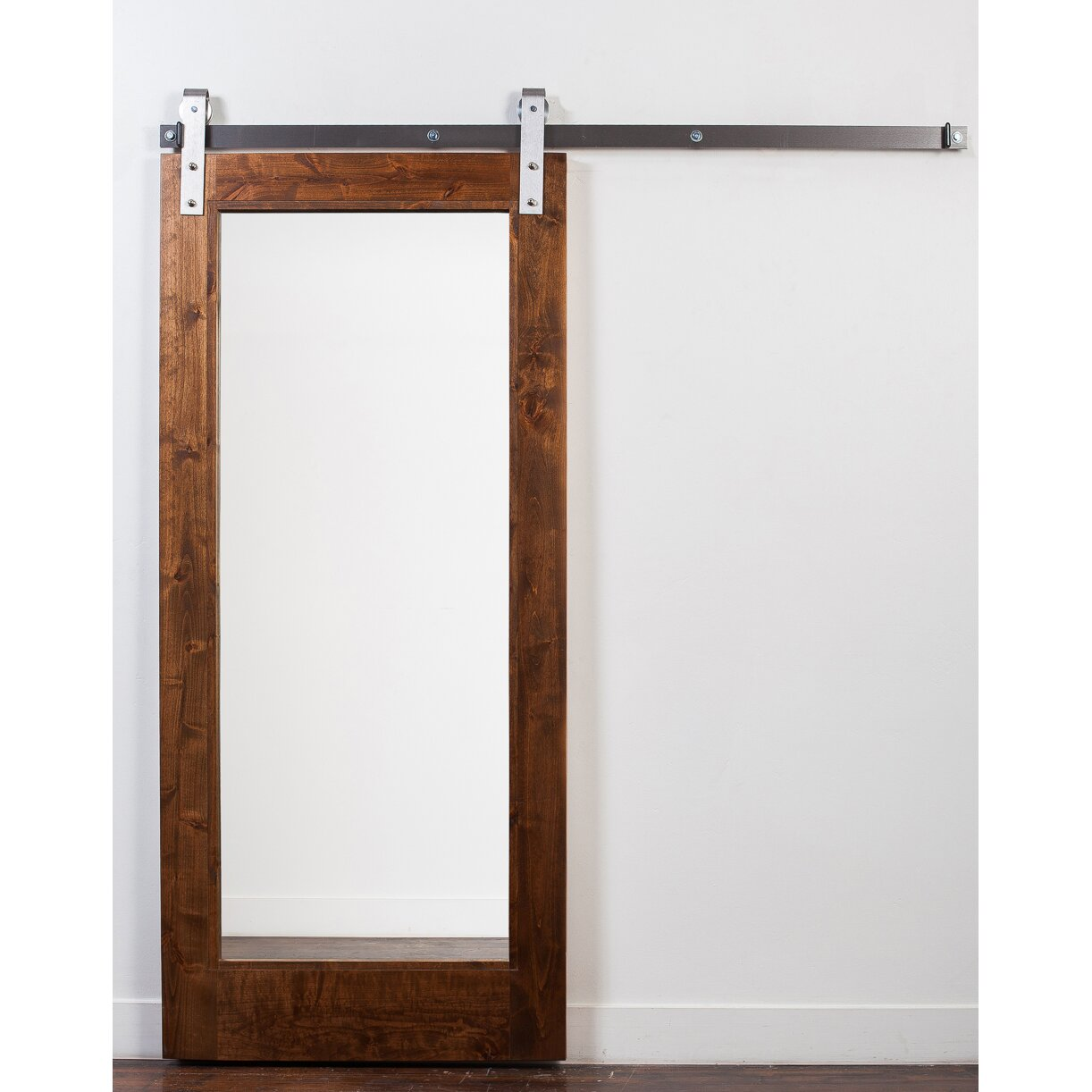 Rusticahardware wood and mirror 1 panel stained sliding for Sliding panel doors interior