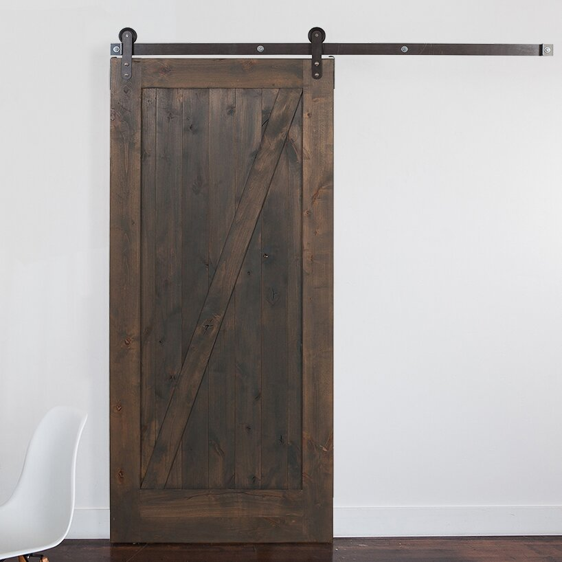 Rusticahardware Wood 1 Panel Stained Sliding Barn Interior