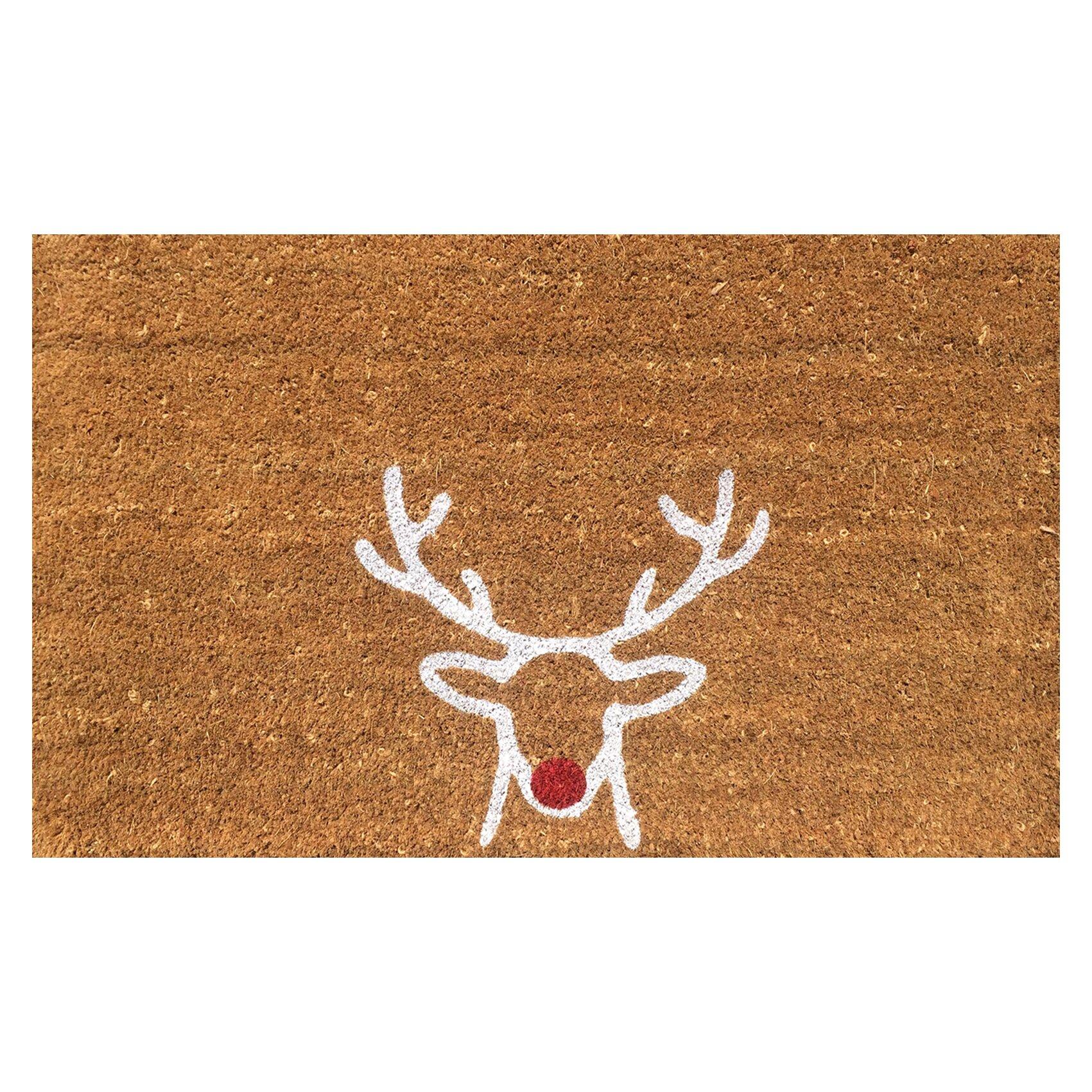 Viana Reindeer Christmas Coir Doormat u0026 Reviews : Wayfair.ca