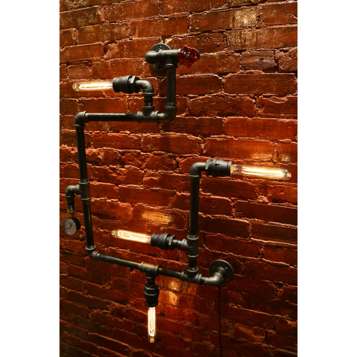 Industrial Pipe Wall Light: West Ninth Vintage Steampunk 4 Light Industrial Pipe Wall