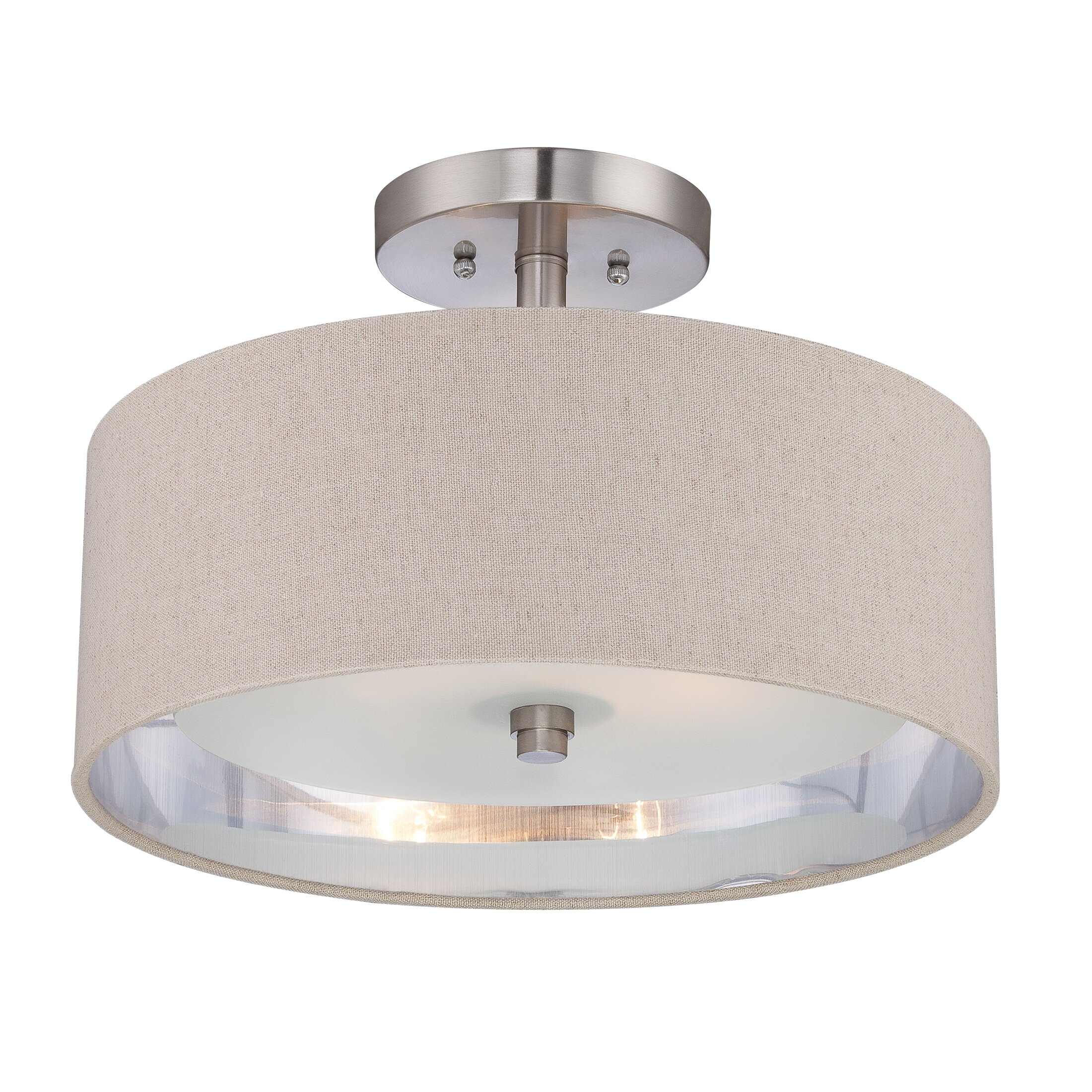 Quoizel metro 2 light semi flush mount reviews wayfair for Flush mount bedroom lighting