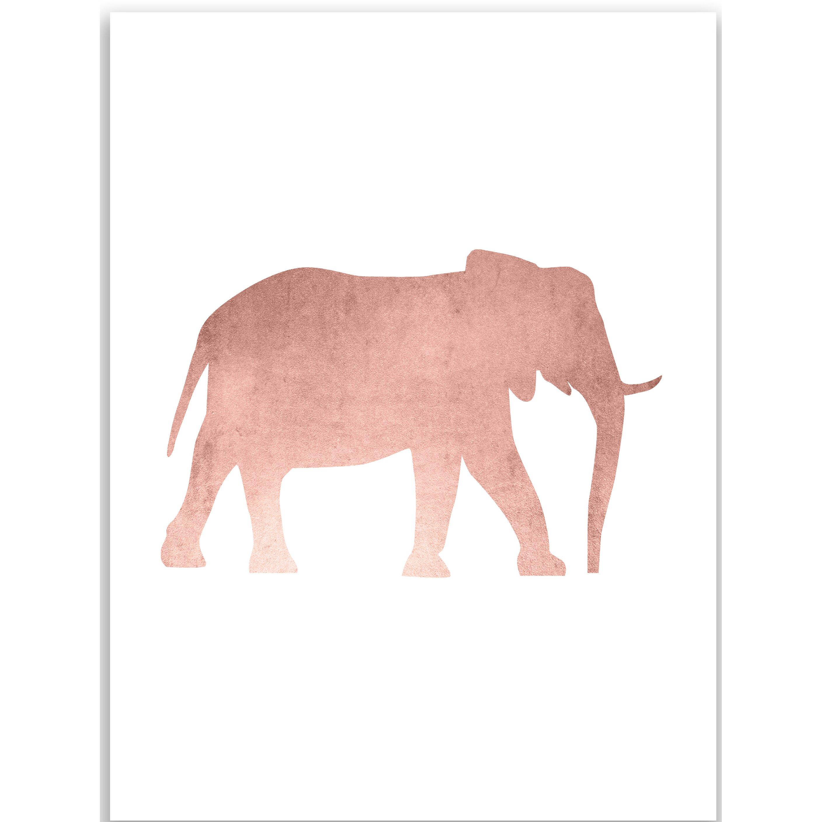 Gold Elephant Wall Decor : Jetty home rose gold elephant nursery wall art print