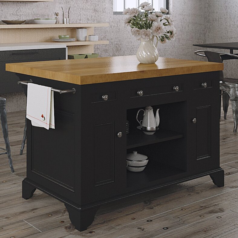 Kitchen Wood Top: 222 Fifth Furniture Sutton Kitchen Island With Wood Top