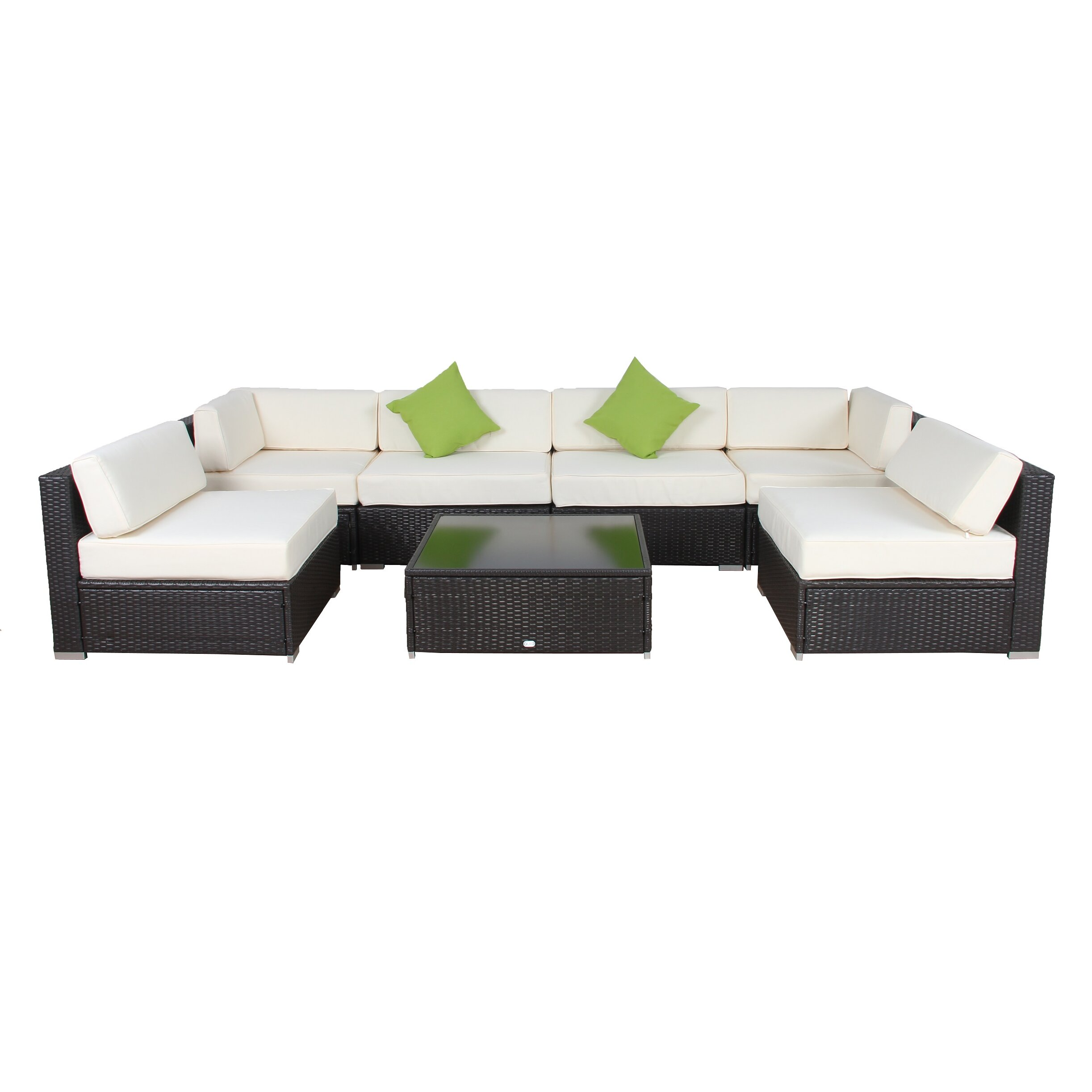 aurofurniture 7 piece deep seating group with cushion
