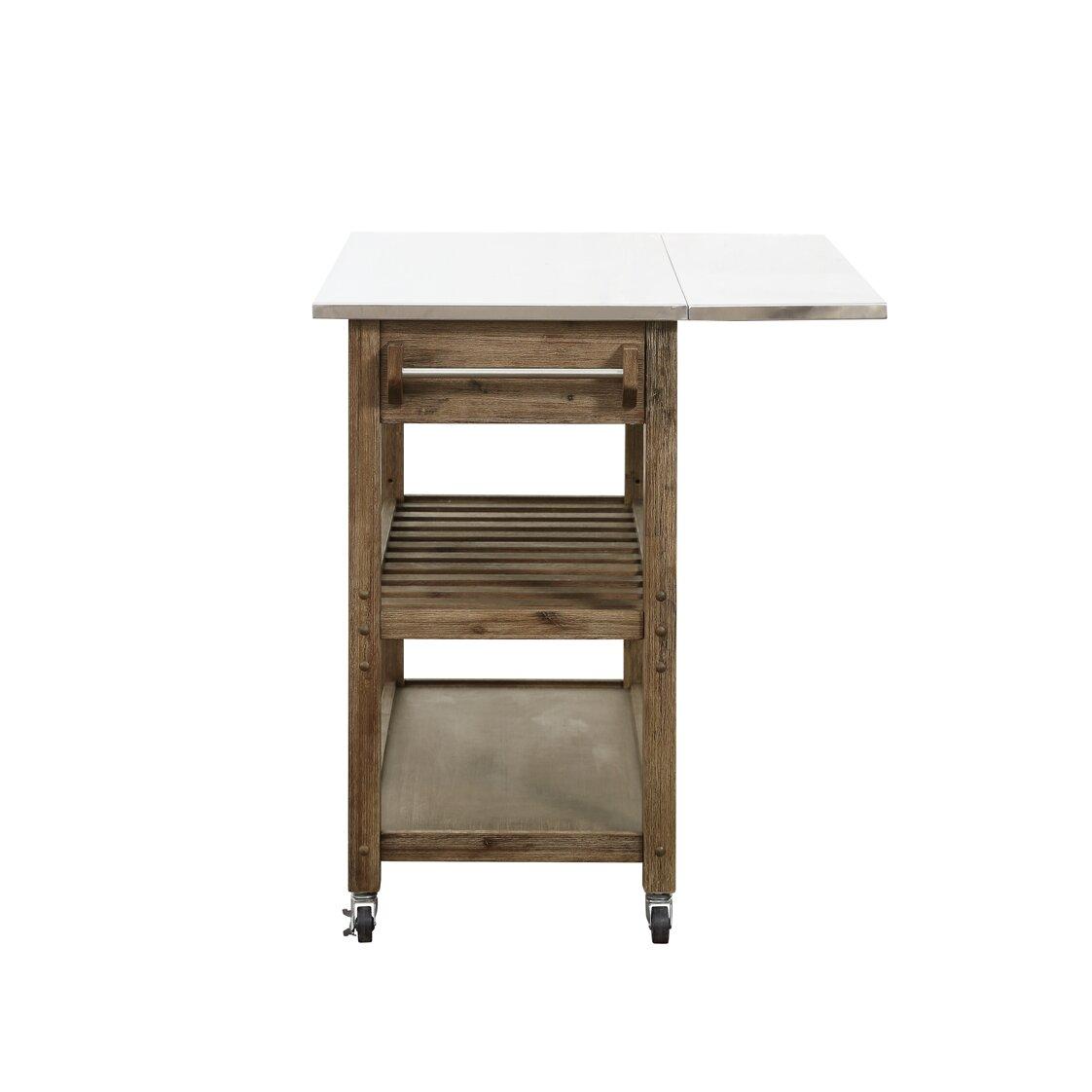 Burnham Home Designs Kitchen Cart With Stainless Steel Top