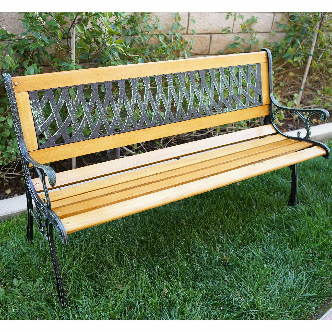 Belleze Outdoor Patio Cast Iron Hardwood Garden Bench