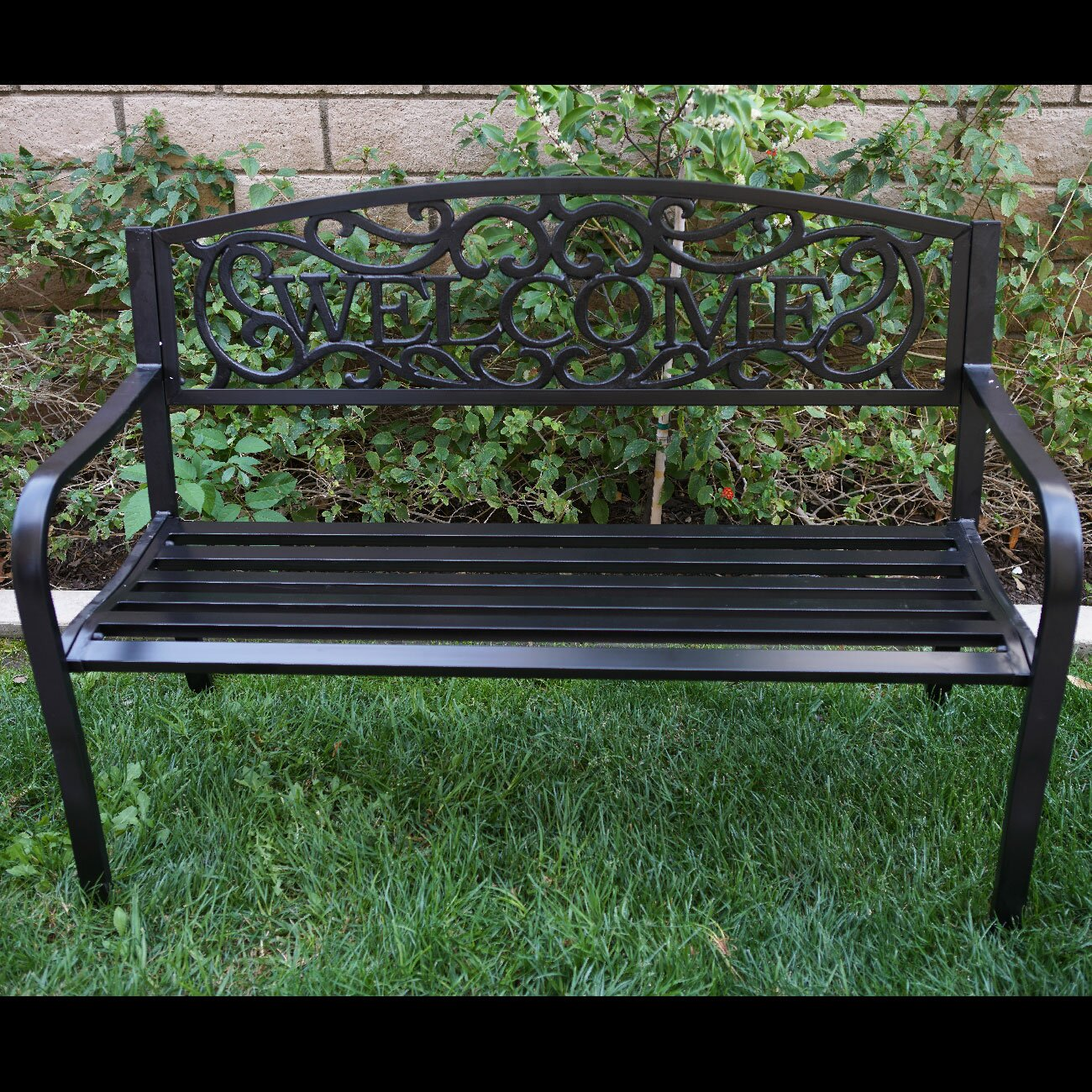 belleze blossoming iron garden bench reviews wayfair. Black Bedroom Furniture Sets. Home Design Ideas