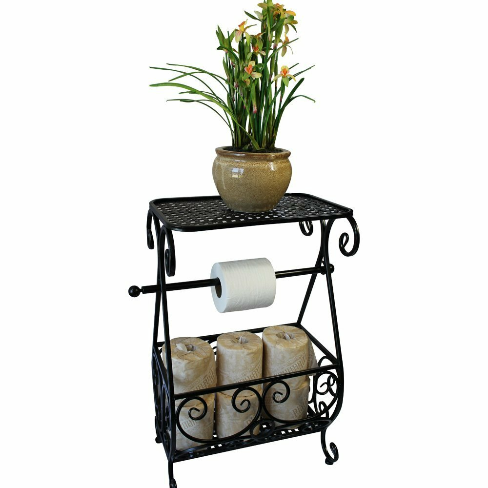 Ikee design metal free standing toilet paper holder with - Bathroom toilet paper holder free standing ...