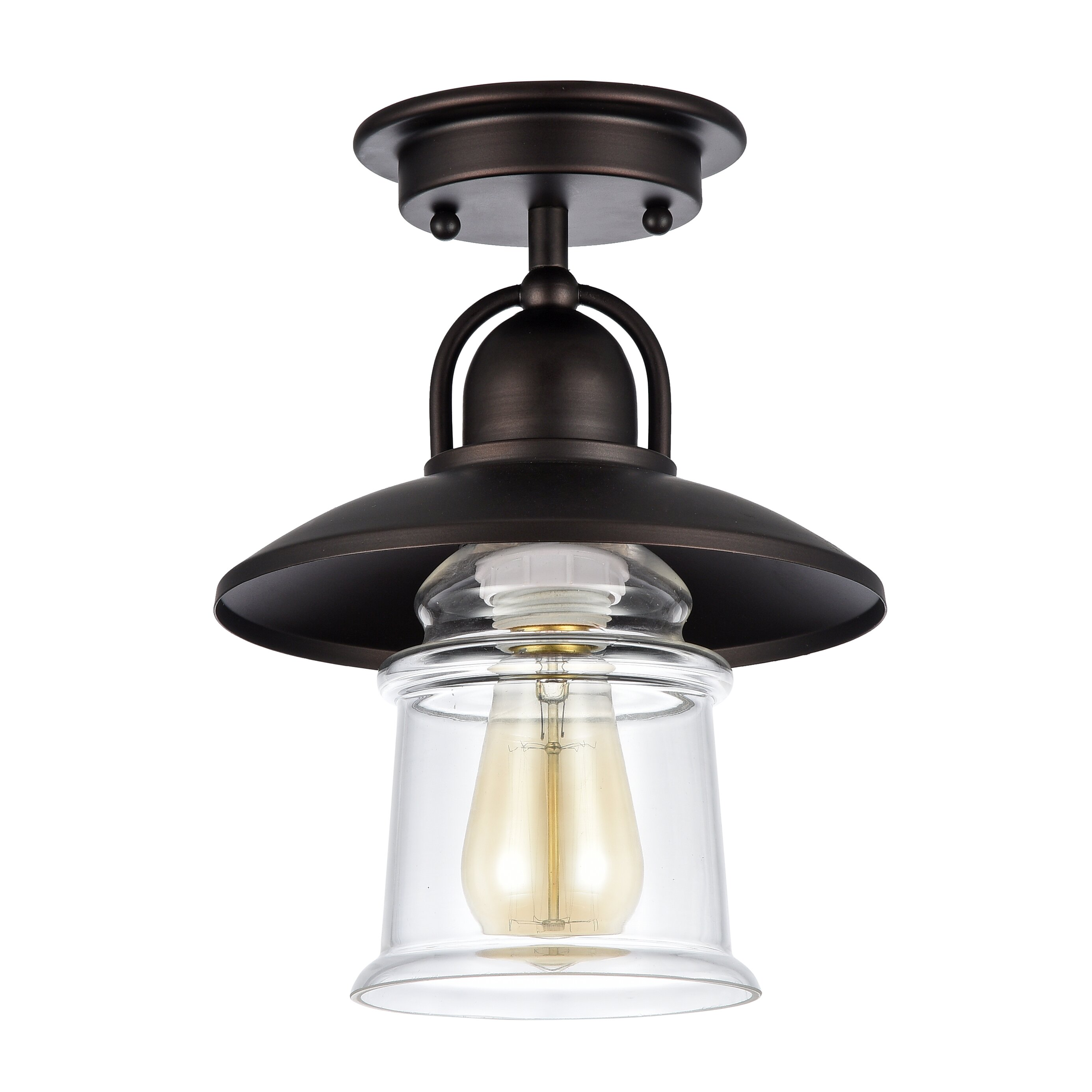 Laurel foundry modern farmhouse bouvet 1 light semi flush for Semi flush mount lighting modern