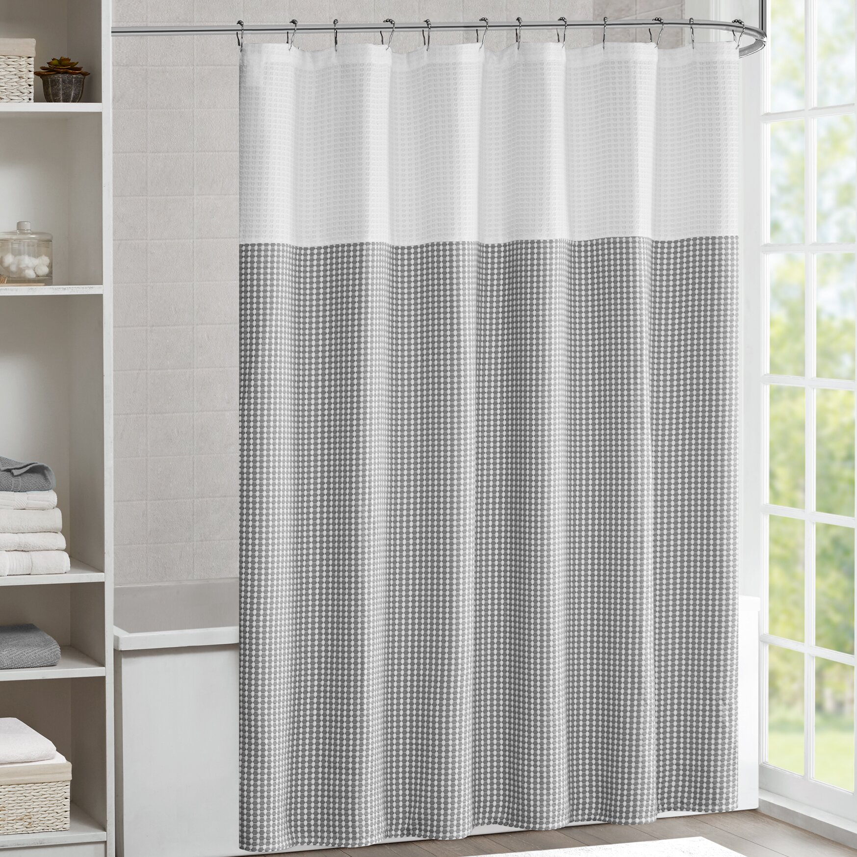 laurel foundry modern farmhouse moreland shower curtain. Black Bedroom Furniture Sets. Home Design Ideas