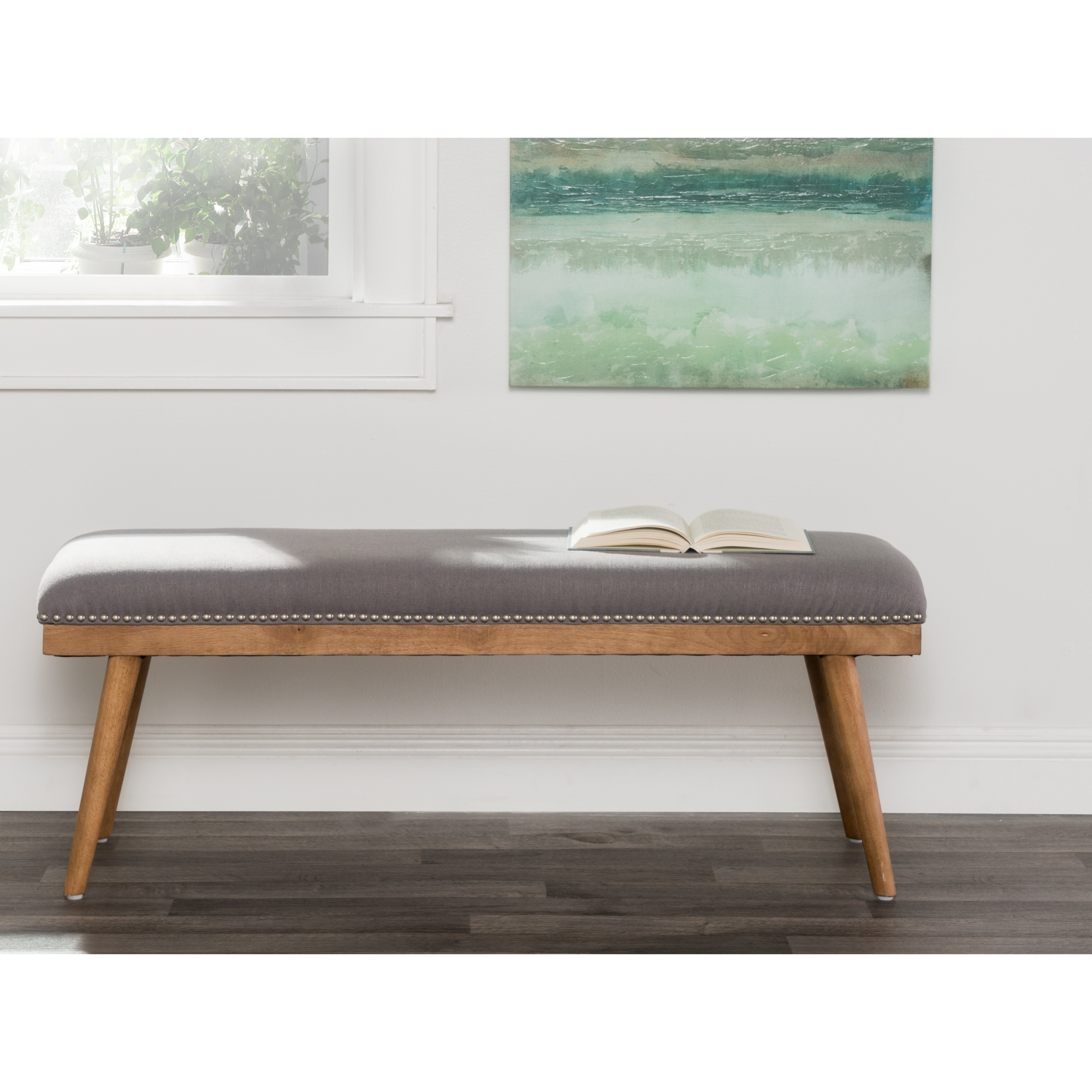 Laurel Foundry Modern Farmhouse Upholstered Entryway Bench