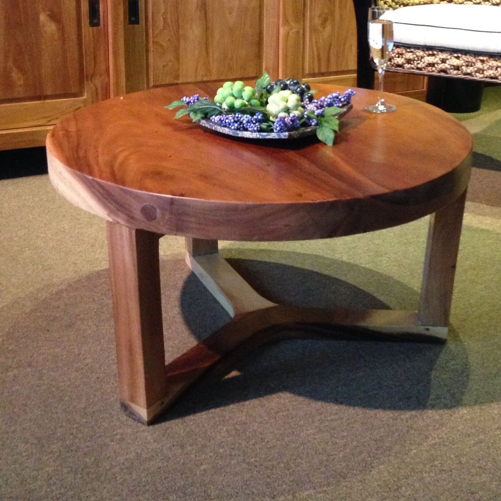 Low Round Teak Coffee Table: ChicTeak Suar Round Coffee Table