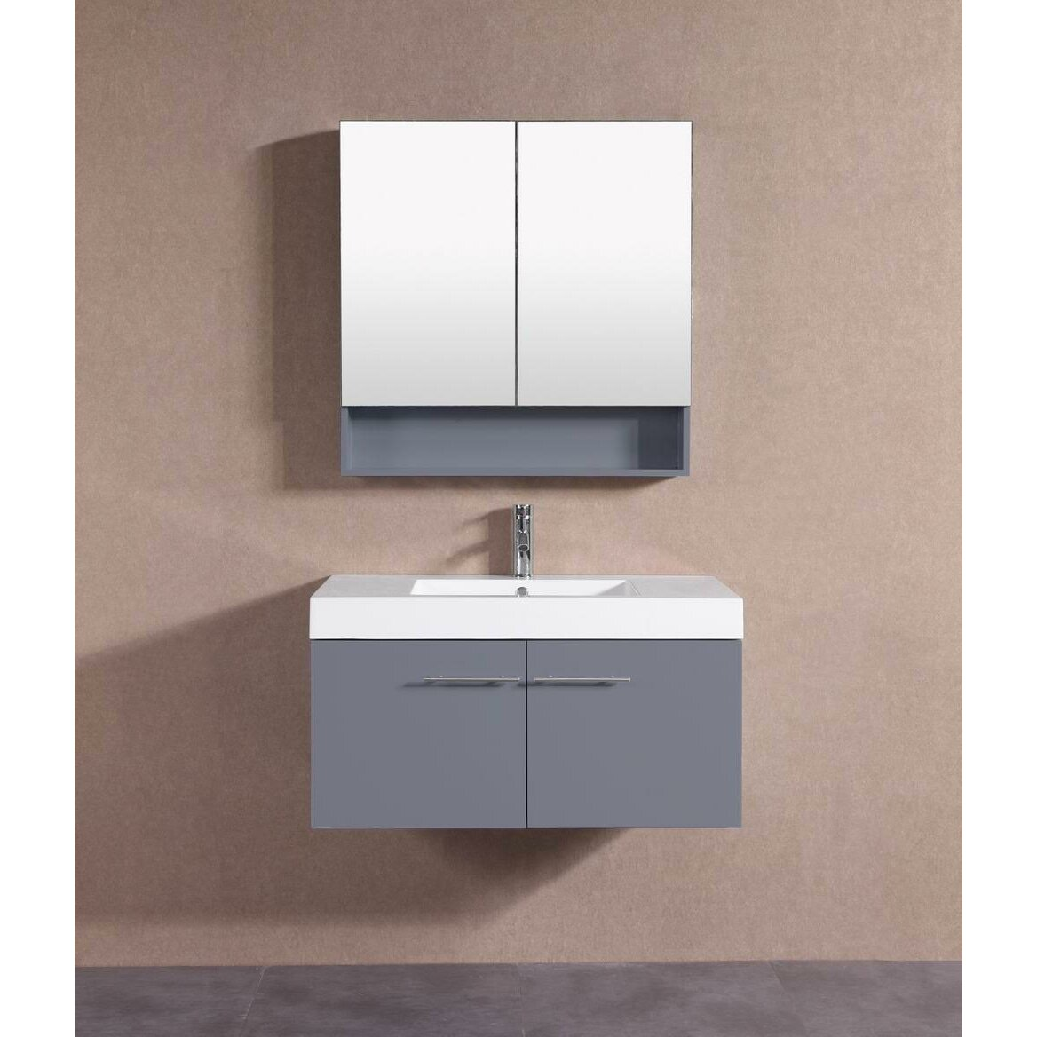 Belvederebath 36 single modern bathroom vanity set wayfair for Bath and vanity set