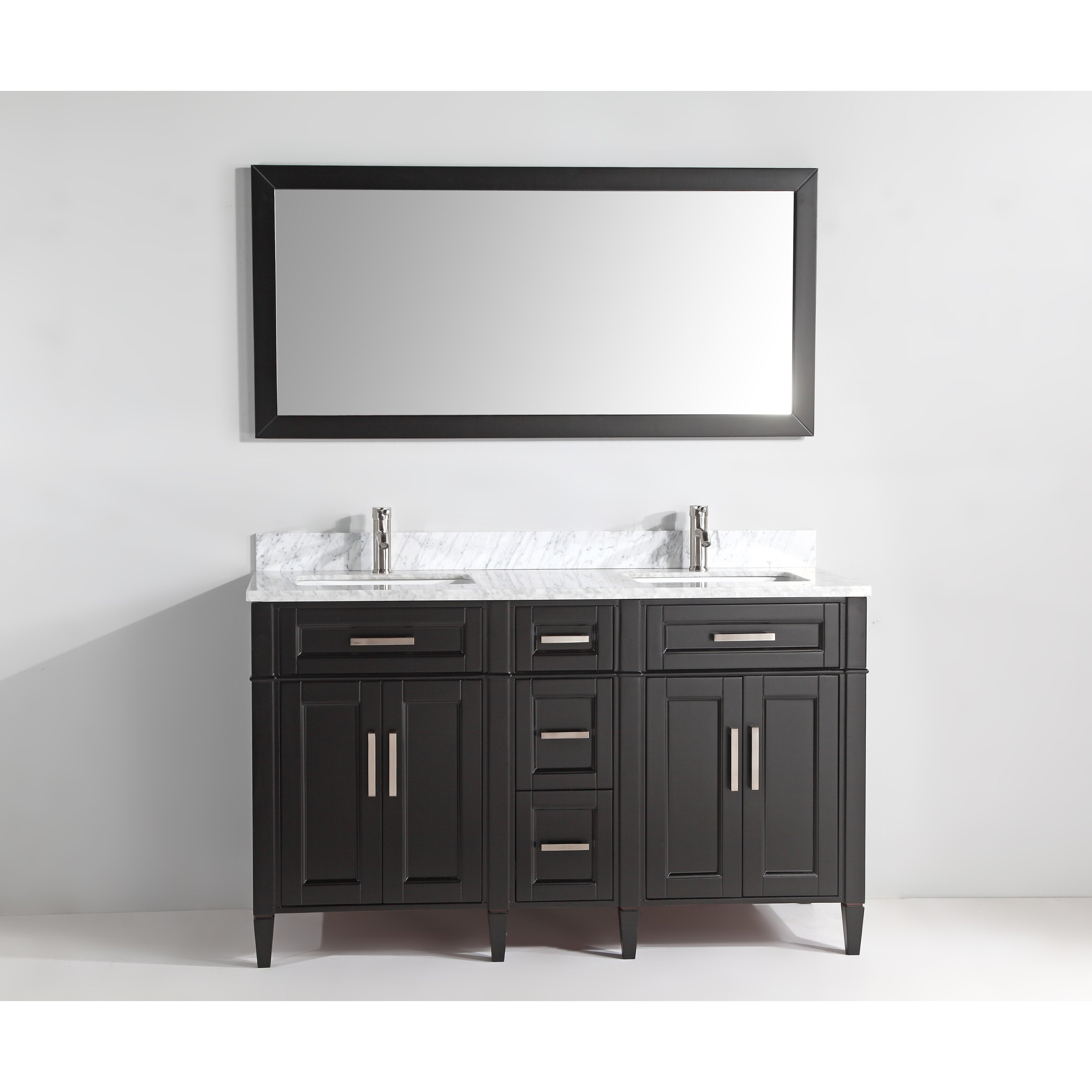 Vanityart 60 double bathroom vanity set with mirror wayfair for Vanity set with mirror