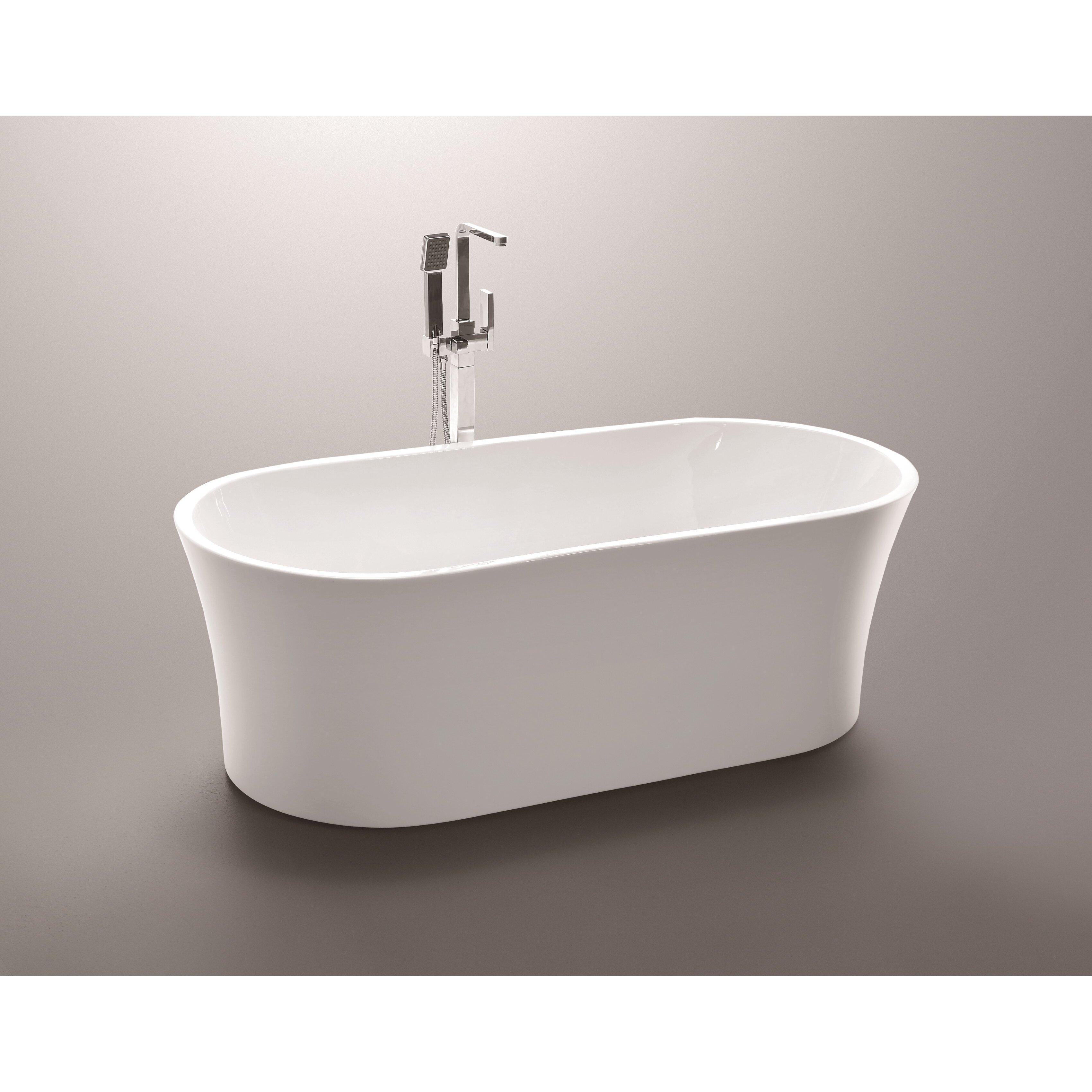 Vanityart 63 x 29 5 acrylic freestanding soaking bathtub for Acrylic freestanding soaking tub
