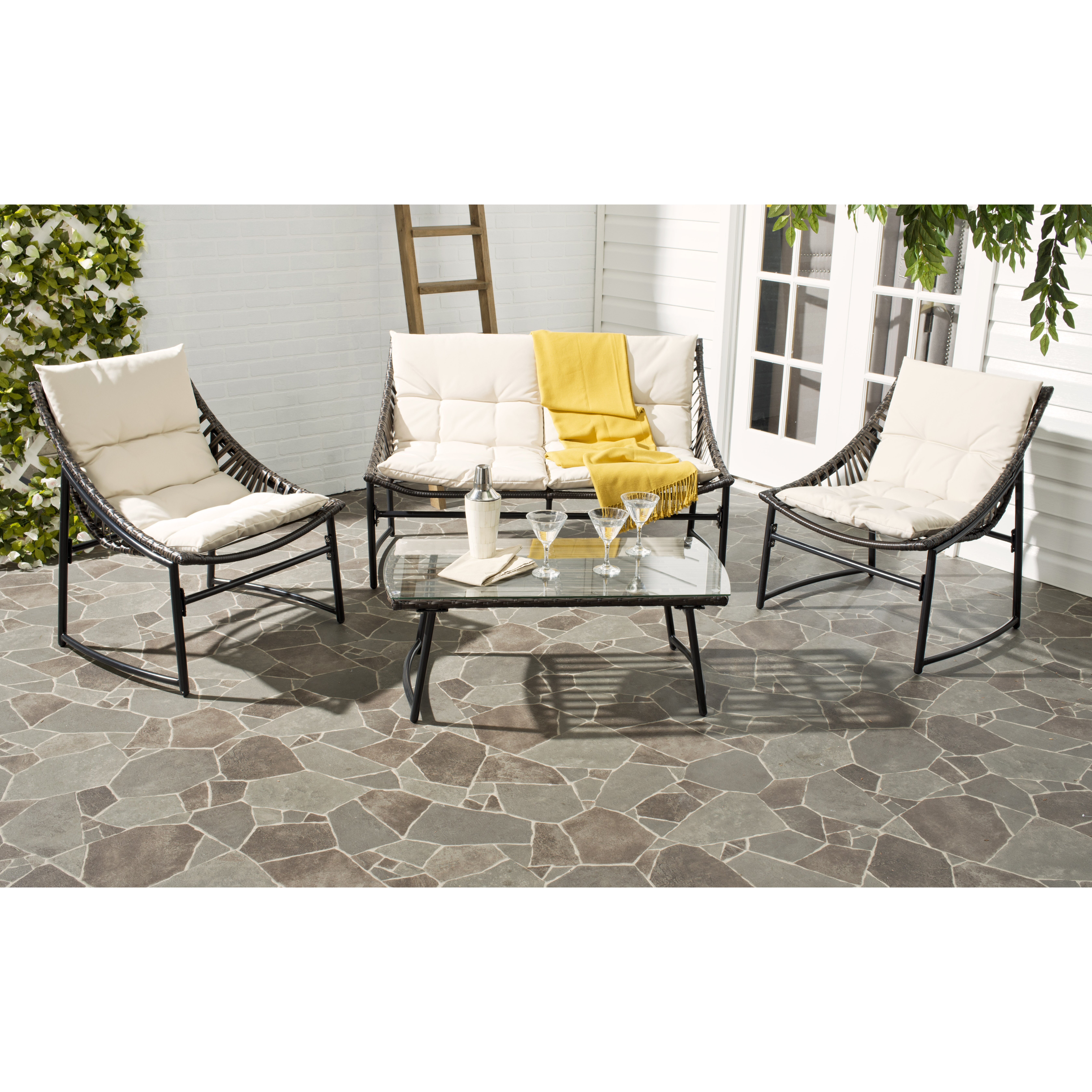 Safavieh 4 Piece Breanna Patio Group Set with Cushion & Reviews