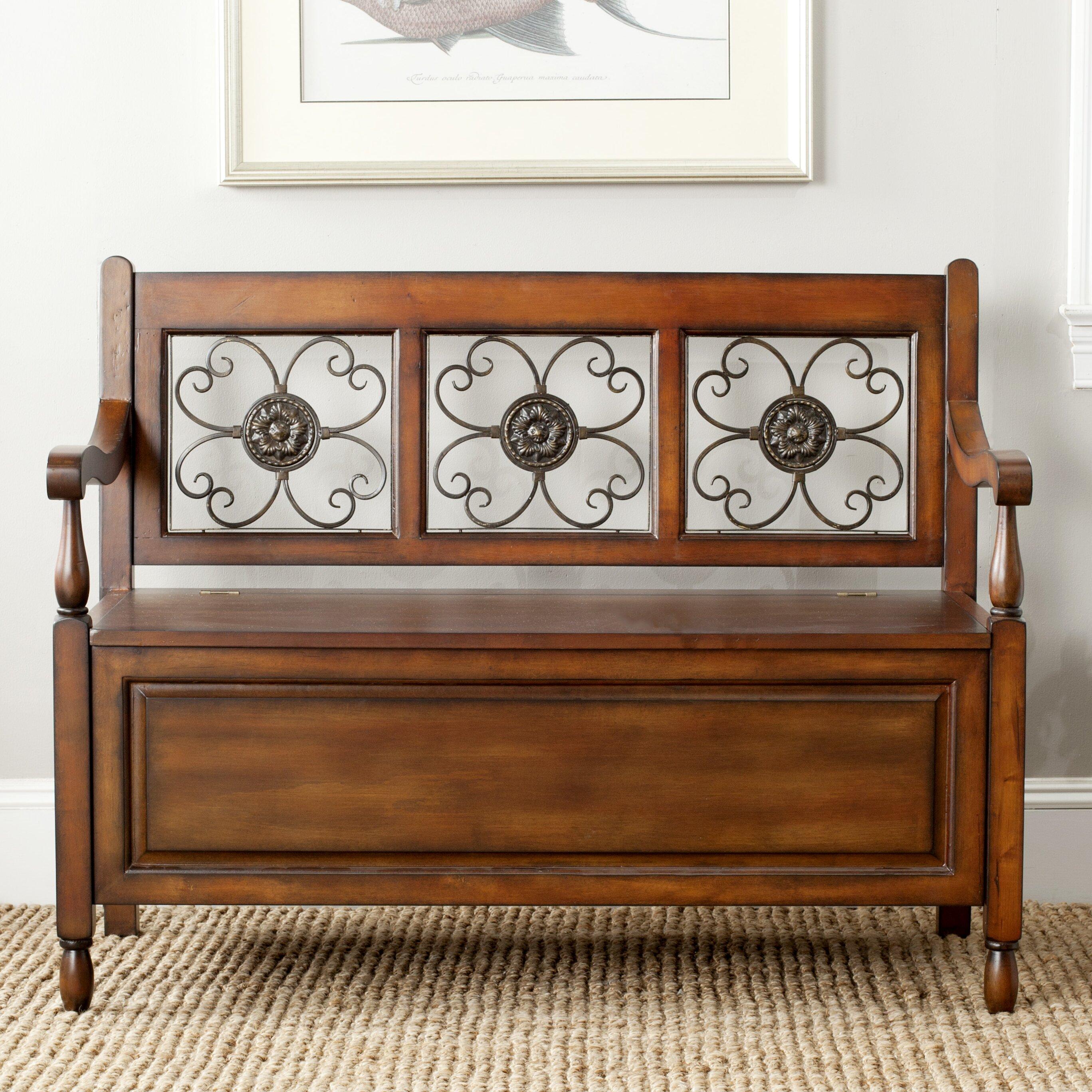 Foyer Bench Xl : Safavieh erica wood storage entryway bench reviews wayfair