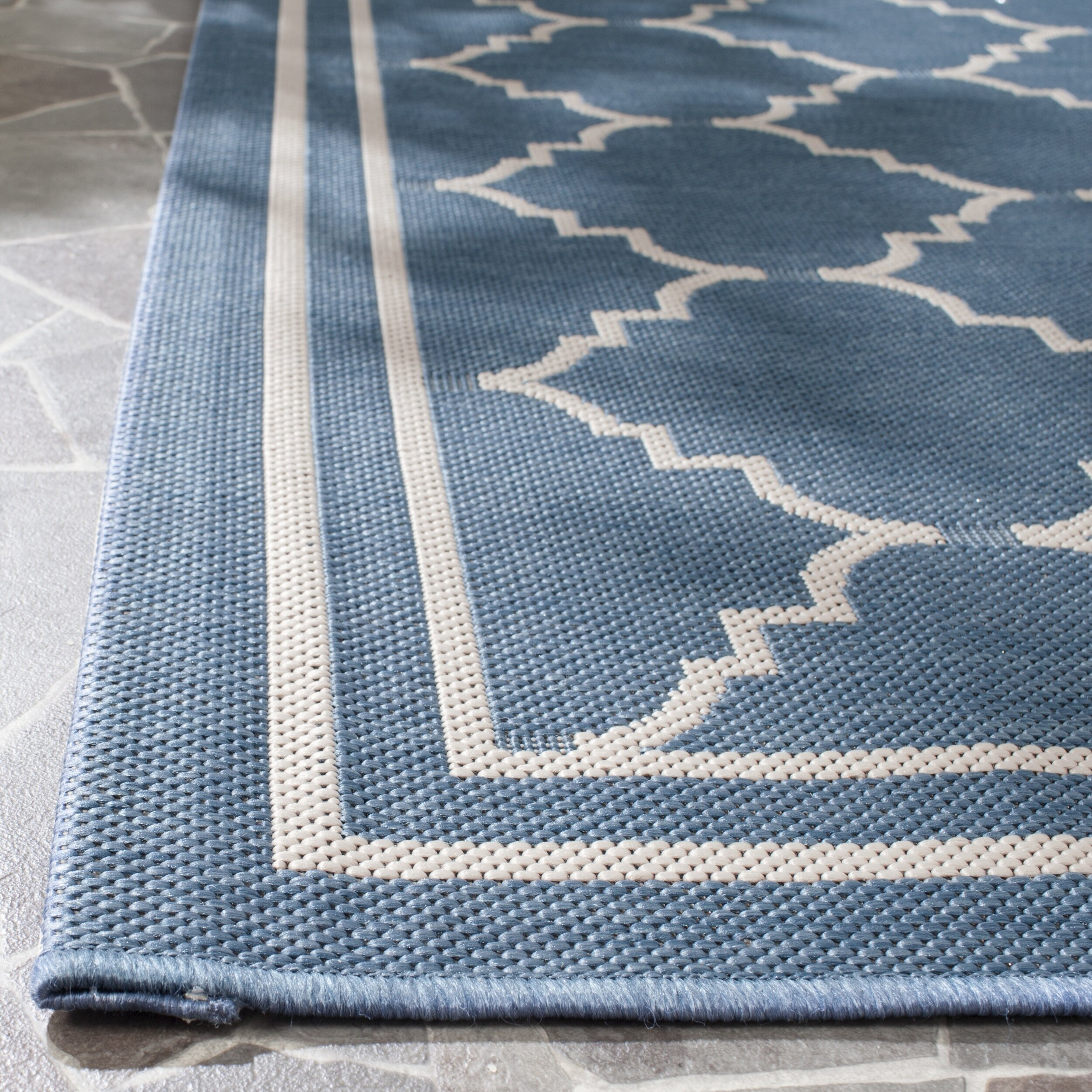 Safavieh Courtyard Blue Beige Outdoor Rug & Reviews