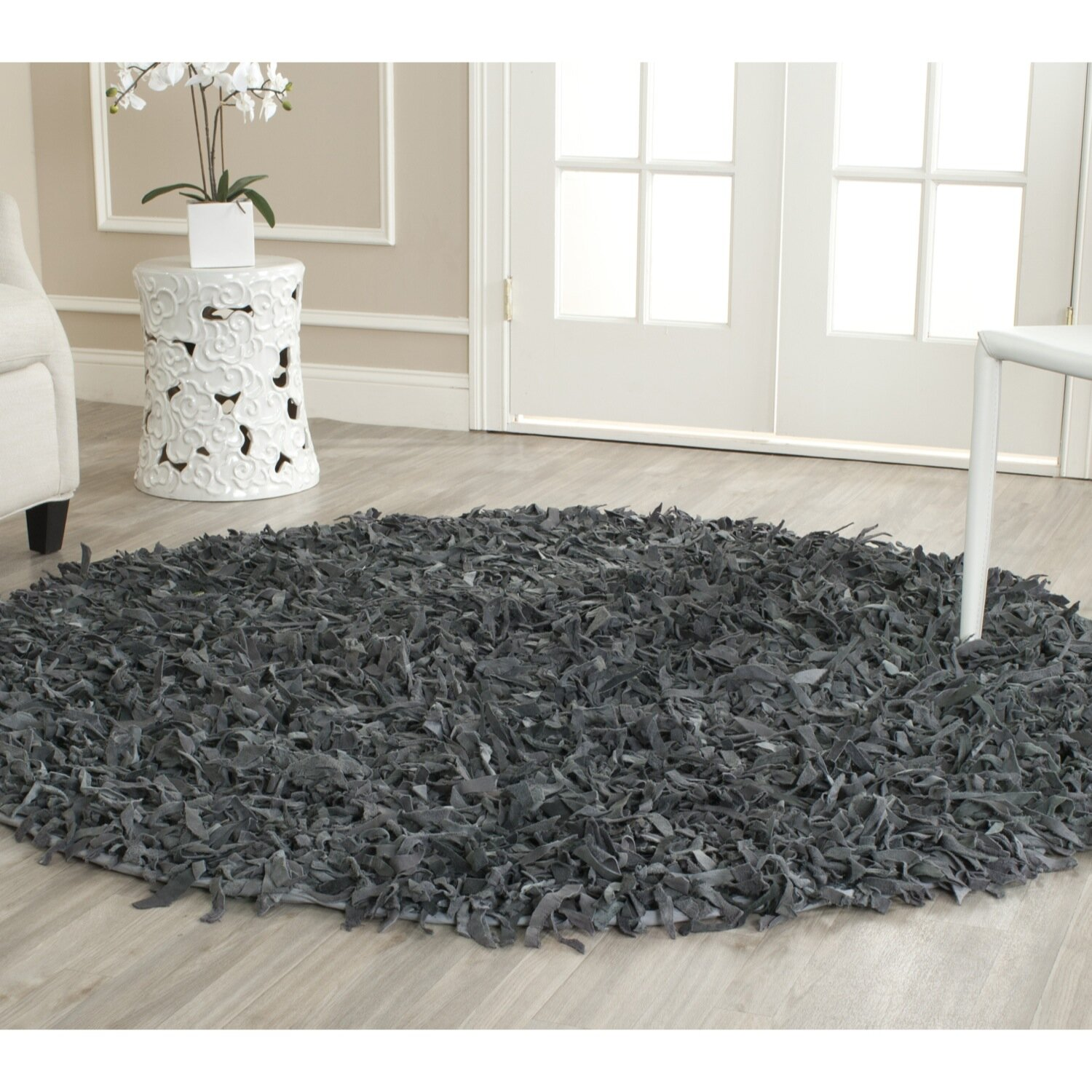 gray shag rug safavieh leather shag grey rug amp reviews wayfair 29992