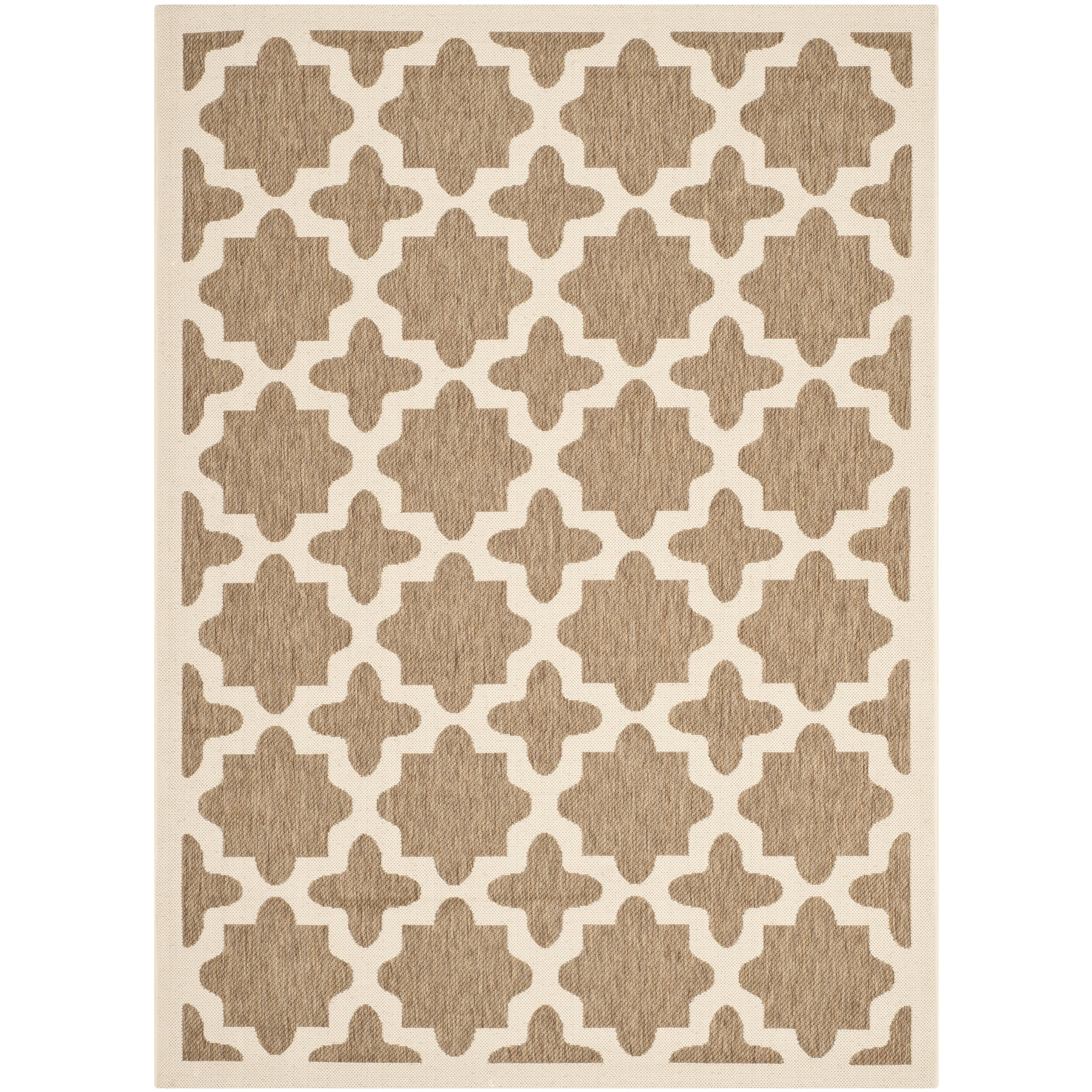 Safavieh courtyard brown bone indoor outdoor area rug for Indoor out door rugs