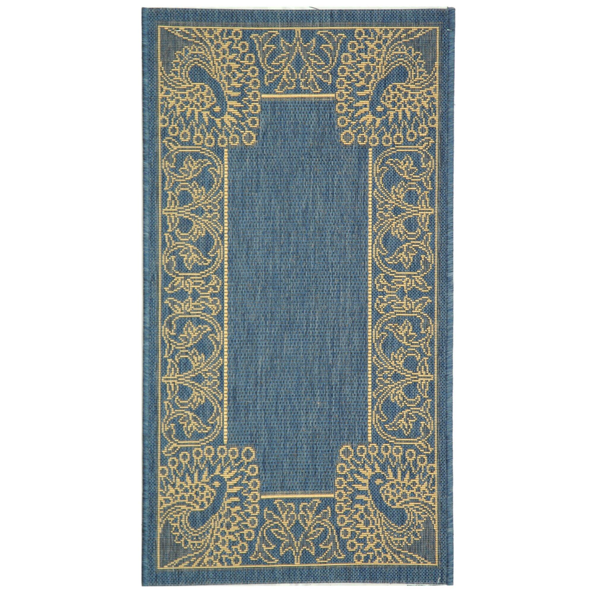 Safavieh courtyard blue natural rug reviews wayfair for Safavieh rugs