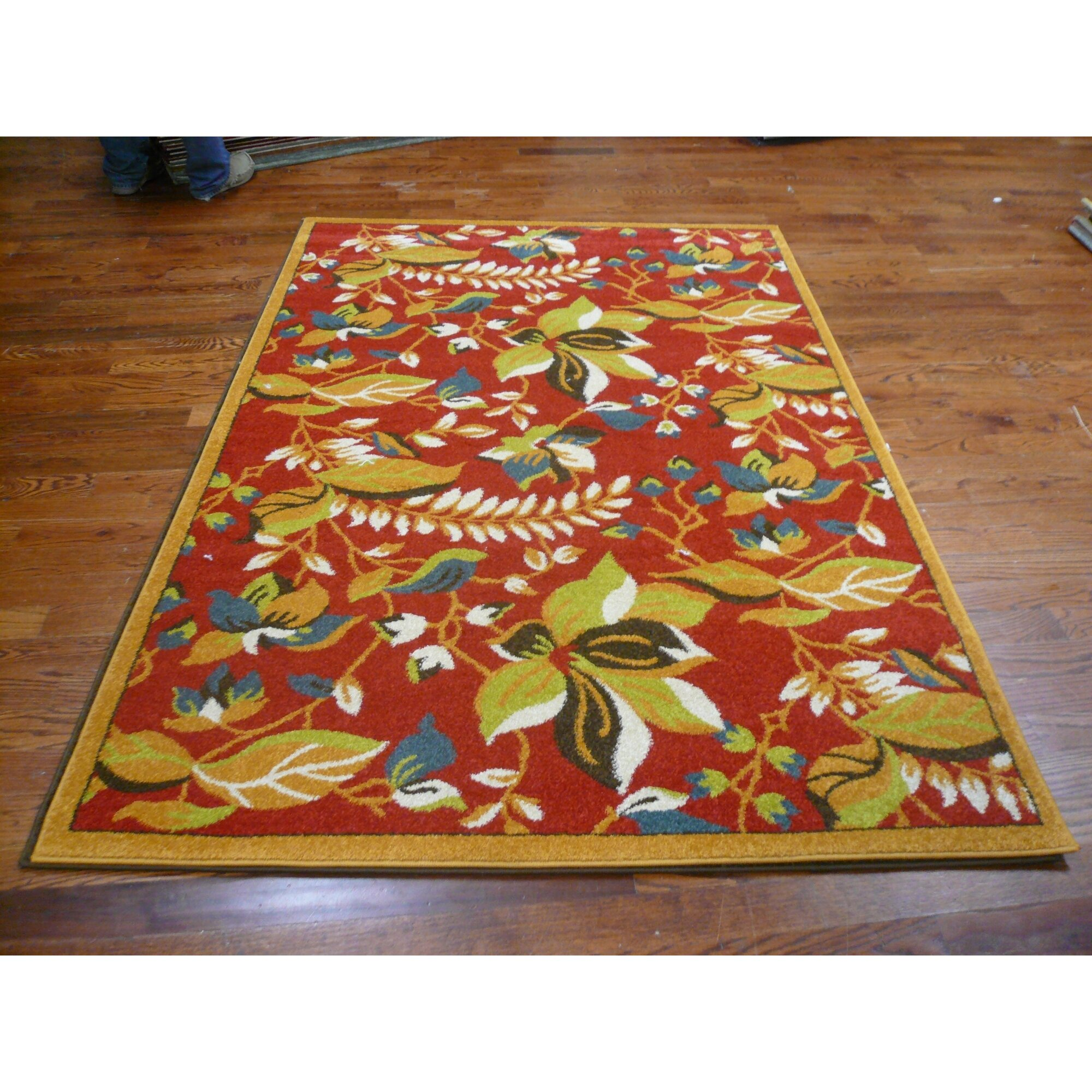 Safavieh newport red gold floral area rug wayfair for Red and gold area rugs