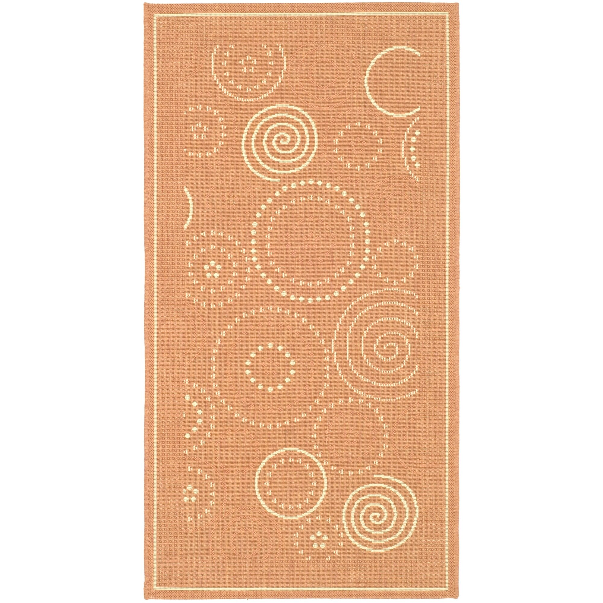 Safavieh Courtyard Terracotta Natural Circle Outdoor Rug