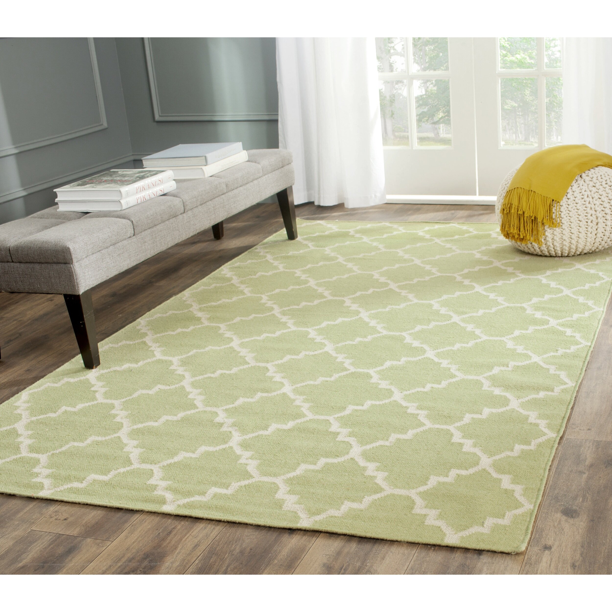 Checked Area Rugs: Safavieh Dhurries Green/Ivory Checked Area Rug & Reviews