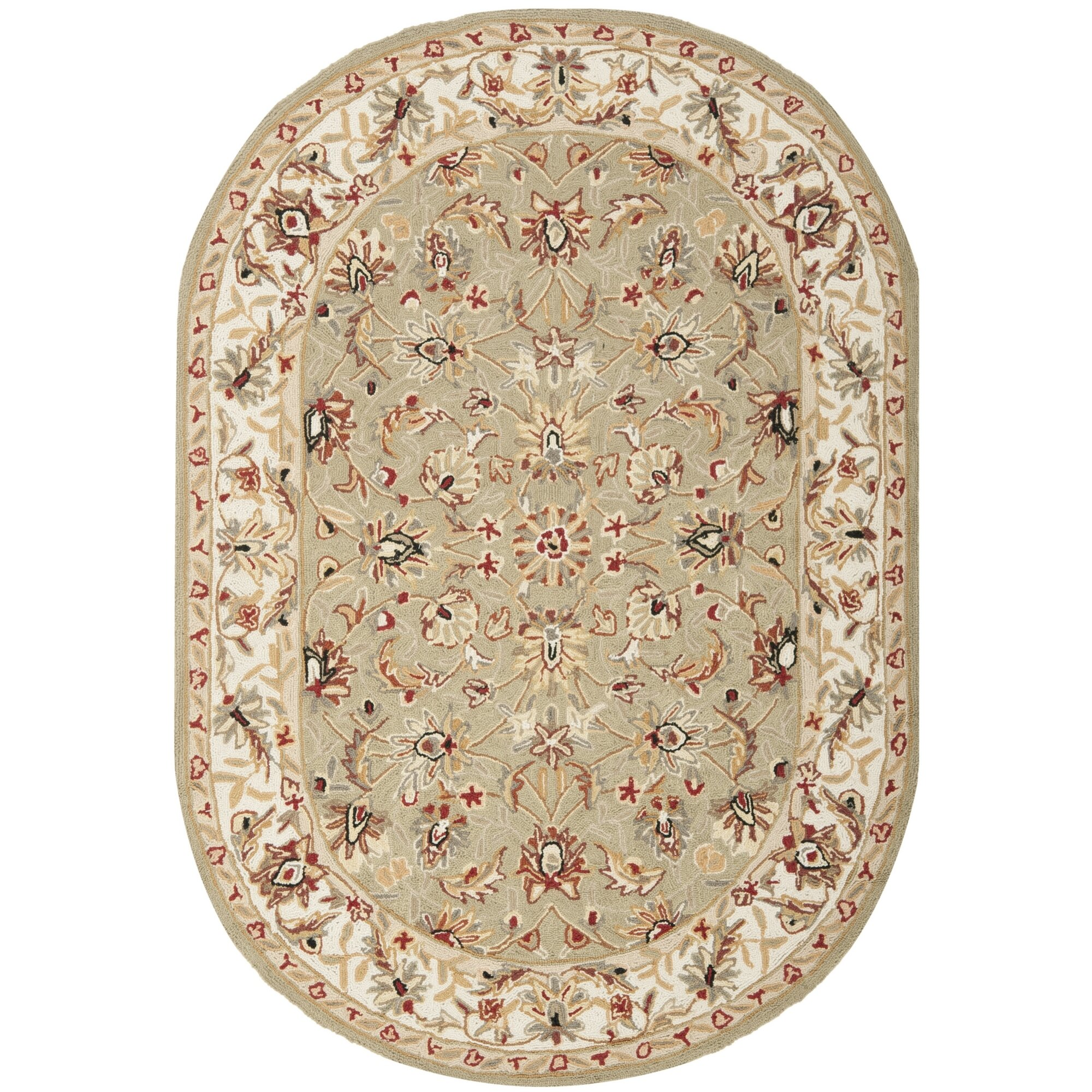 Dog Eating Wool Rug: Safavieh Chelsea Sage / Ivory Area Rug