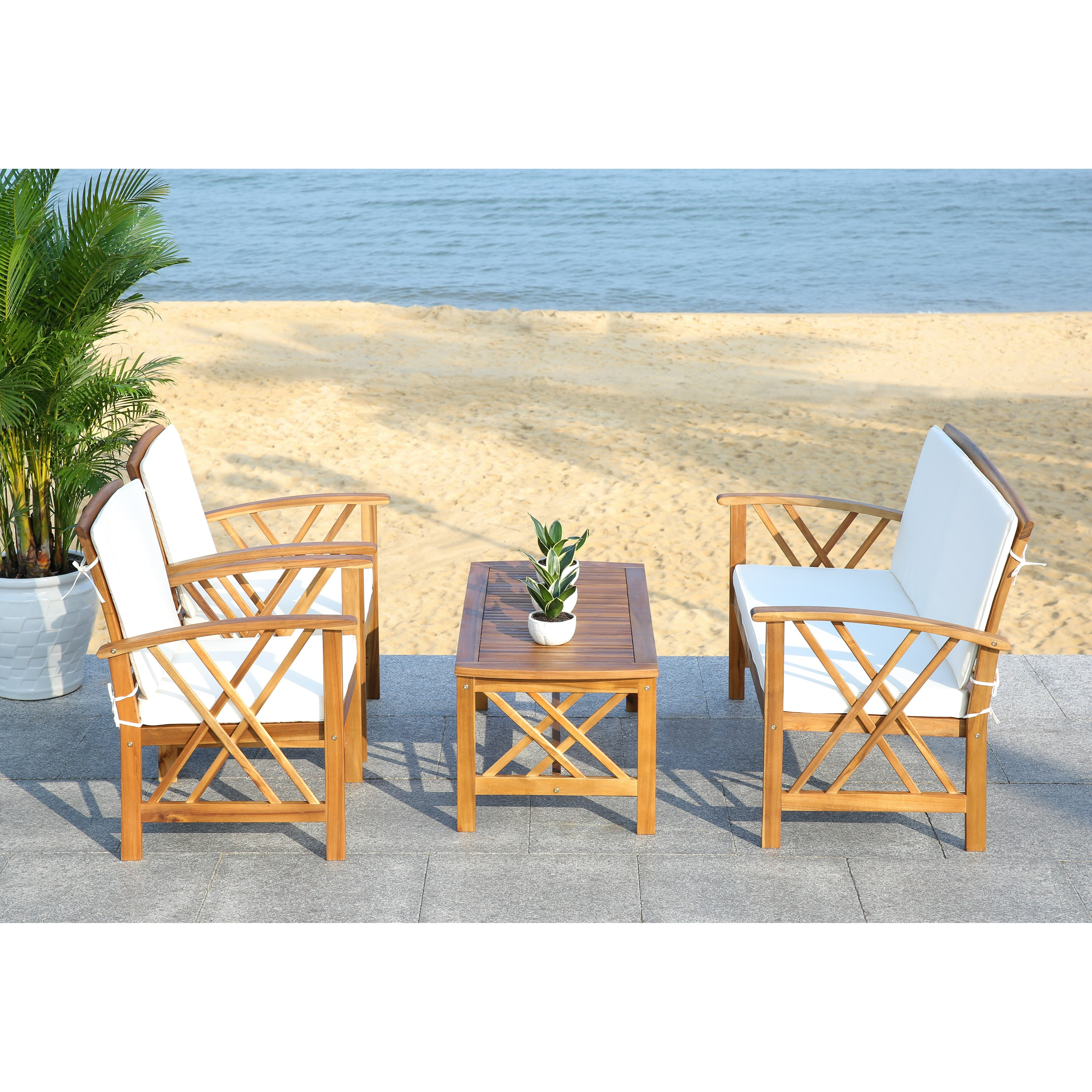 Safavieh Fontana 4 Piece Seating Group with Cushions ... on Safavieh Fontana Patio Set id=24512